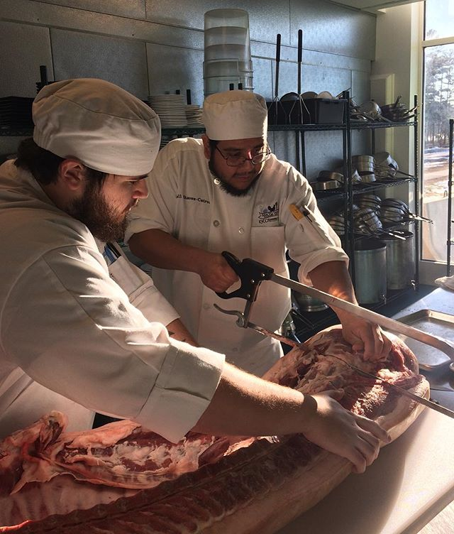 Interested in learning more about whole carcass pig breakdowns? Join me and @sowbellybutchery on Feb 23-24 for a 2 part workshop on nose-to-tail processing. In a sparkly kitchen @kvcc.me we'll start the class with basic butchery and then use those cuts to delve further into the art of charcuterie by preparing our own sausages and smoked meats. DM me for more information or contact @kvcc.me to register at 207.453.5858.