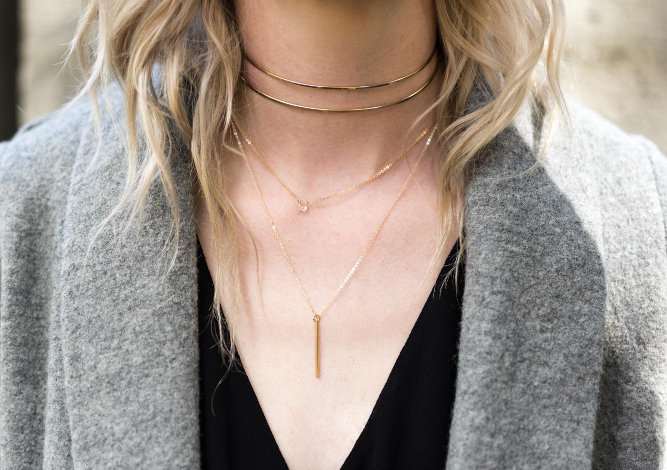 SHOP  ∙   gold choker  ∙  gem choker  ∙  vertical bar necklace