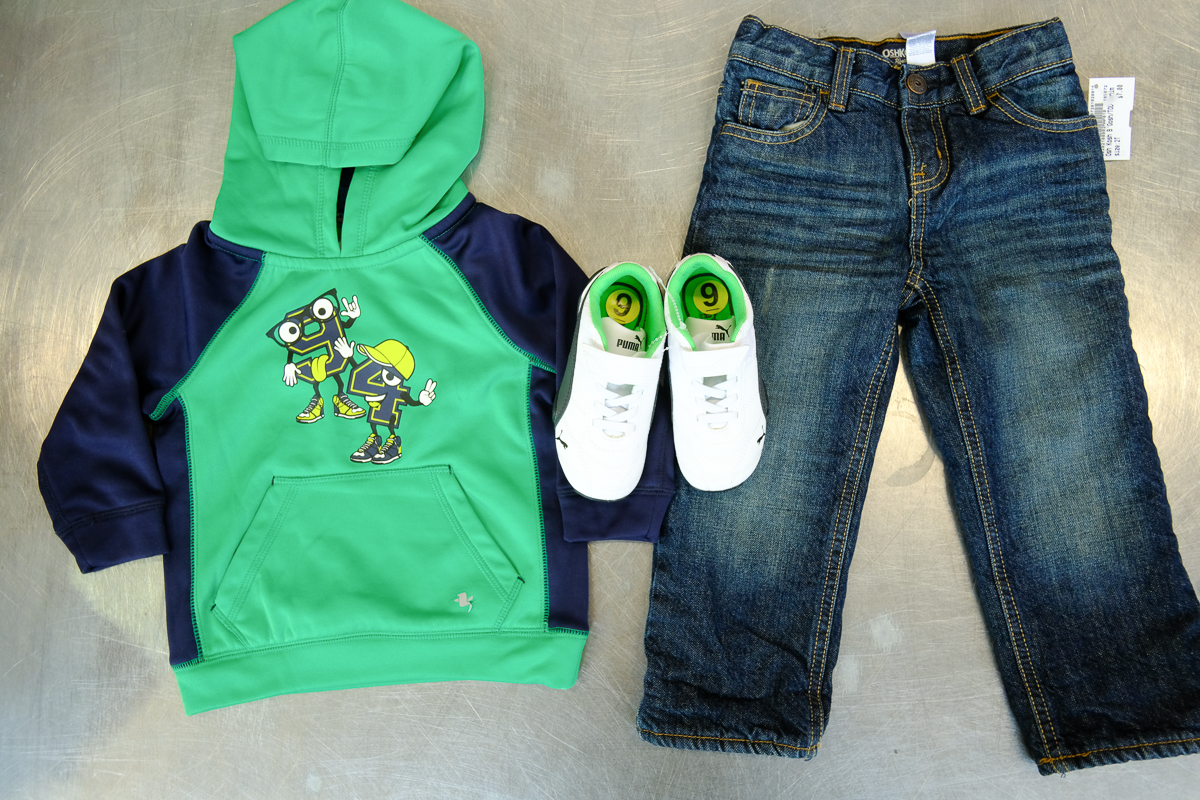 Clothing Supplied by Once Upon A Child , This outfit total for Brand New Runners ($10)New Osh Kosh Fleece Lined Jeans ($7.00) and Hoodie ($6) , came to $23