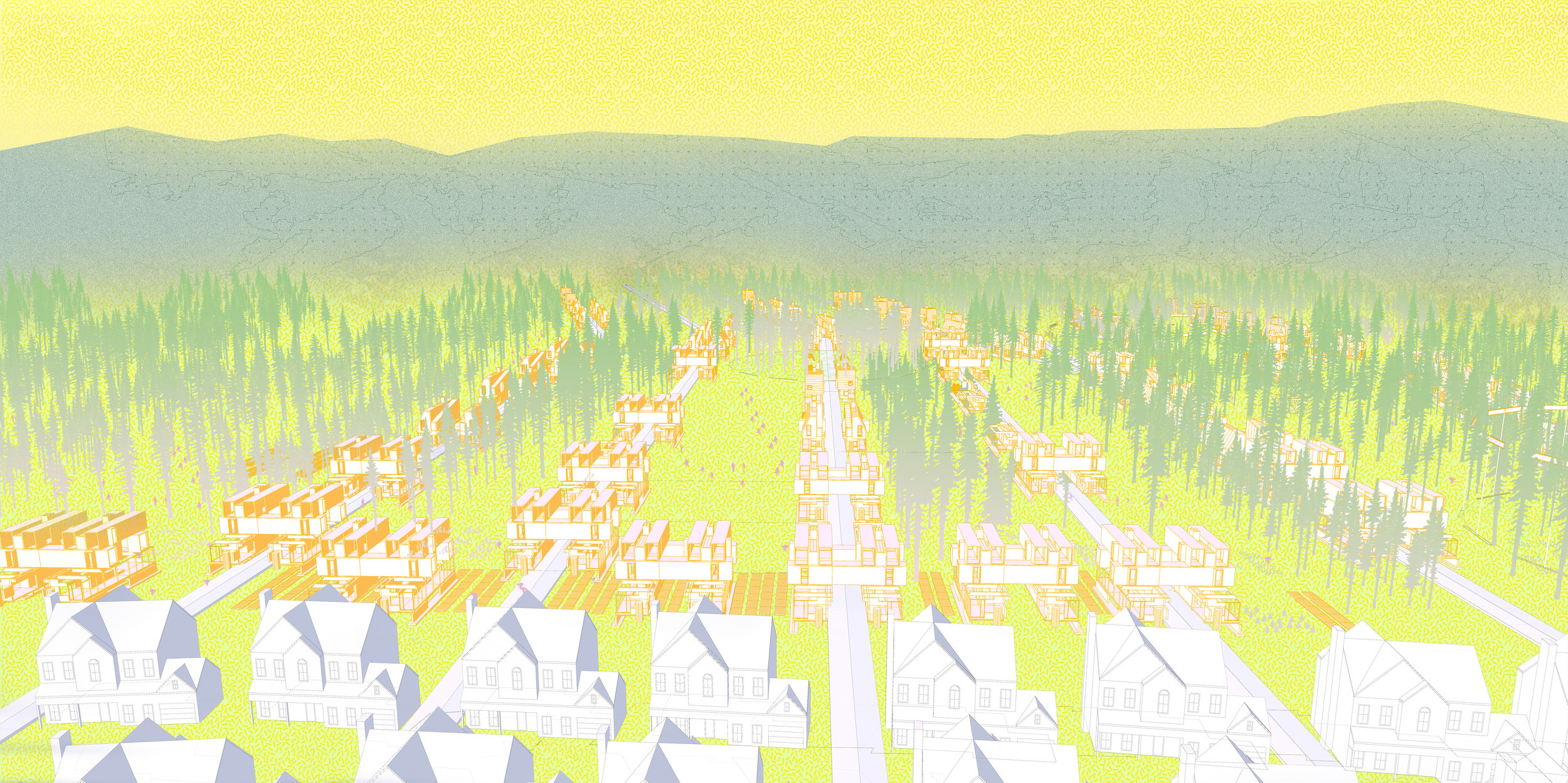 A phased proposal illustrates housing and forest integration at the new frontier.