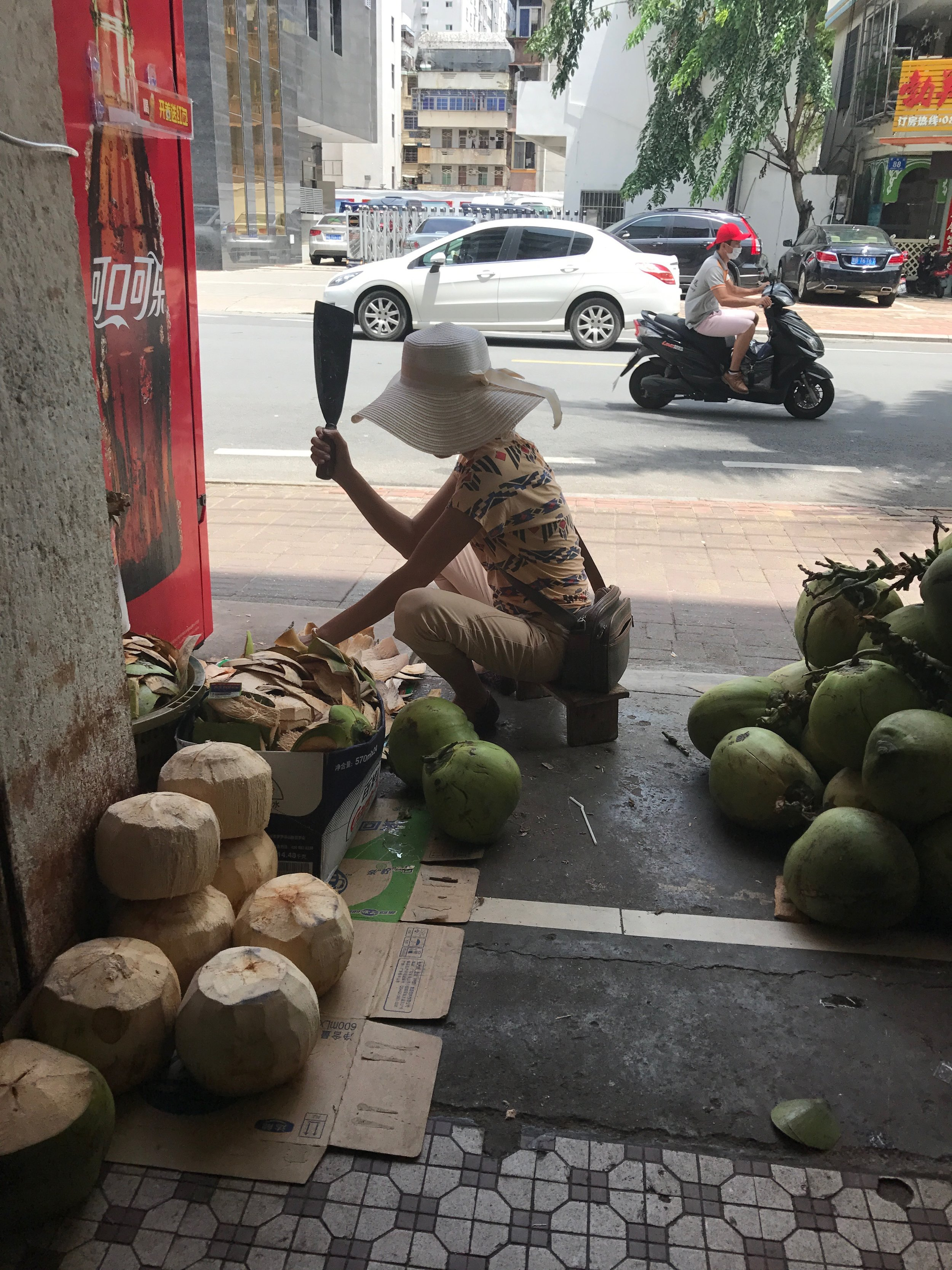 on the last day, bought a coconut for 8 kuai