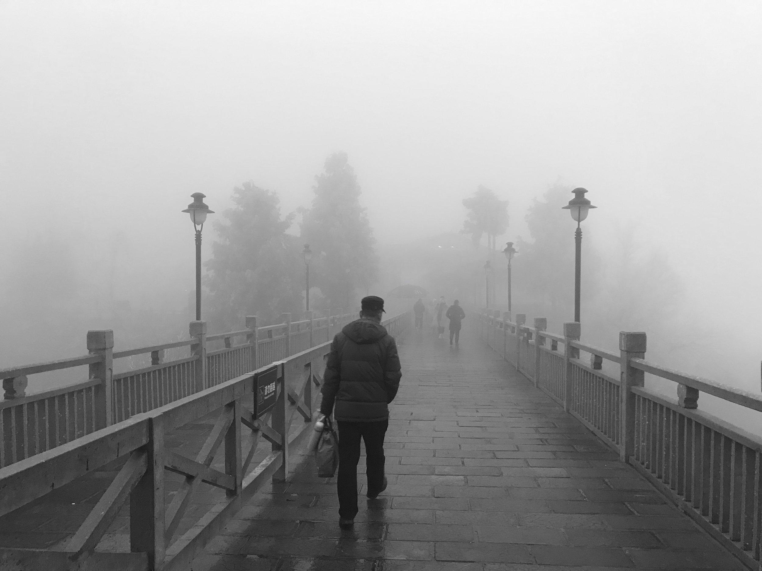 Into the fog.
