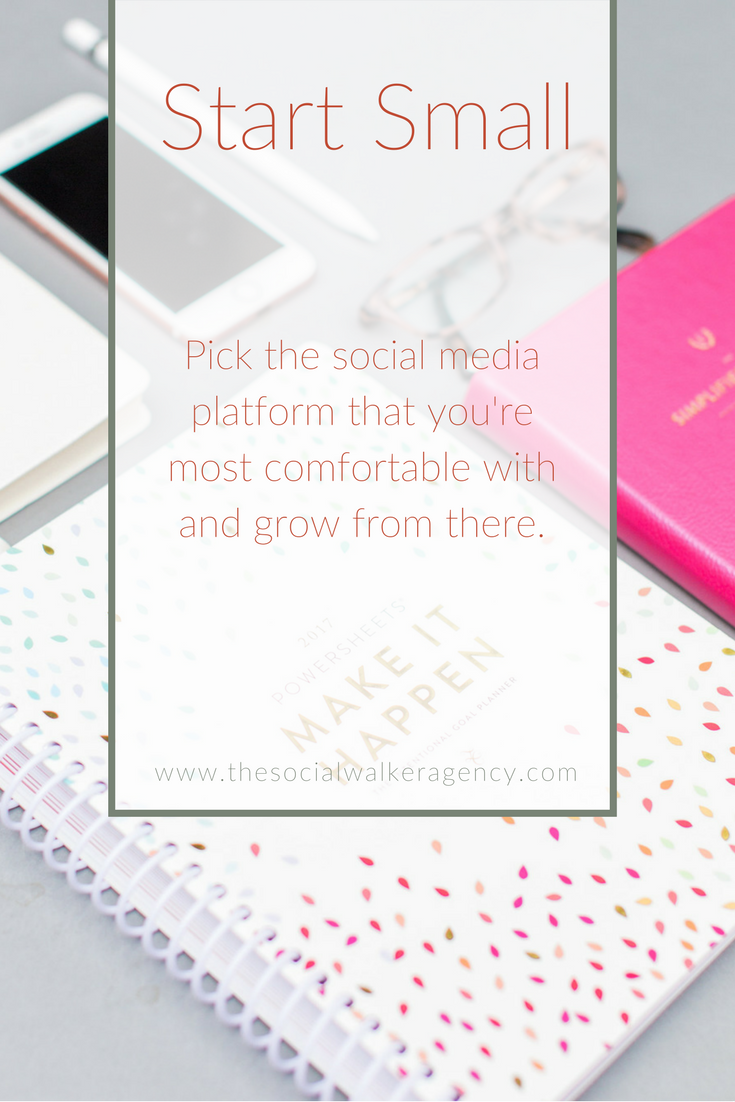 When you're starting out and aren't ready to hire an social media strategist or coach, it can be overwhelming to know where to begin. I always tell clients to start with the one they are most comfortable using. If Twitter or Instagram is too much for you, don't feel like you need to start there. | The Social Walker Agency
