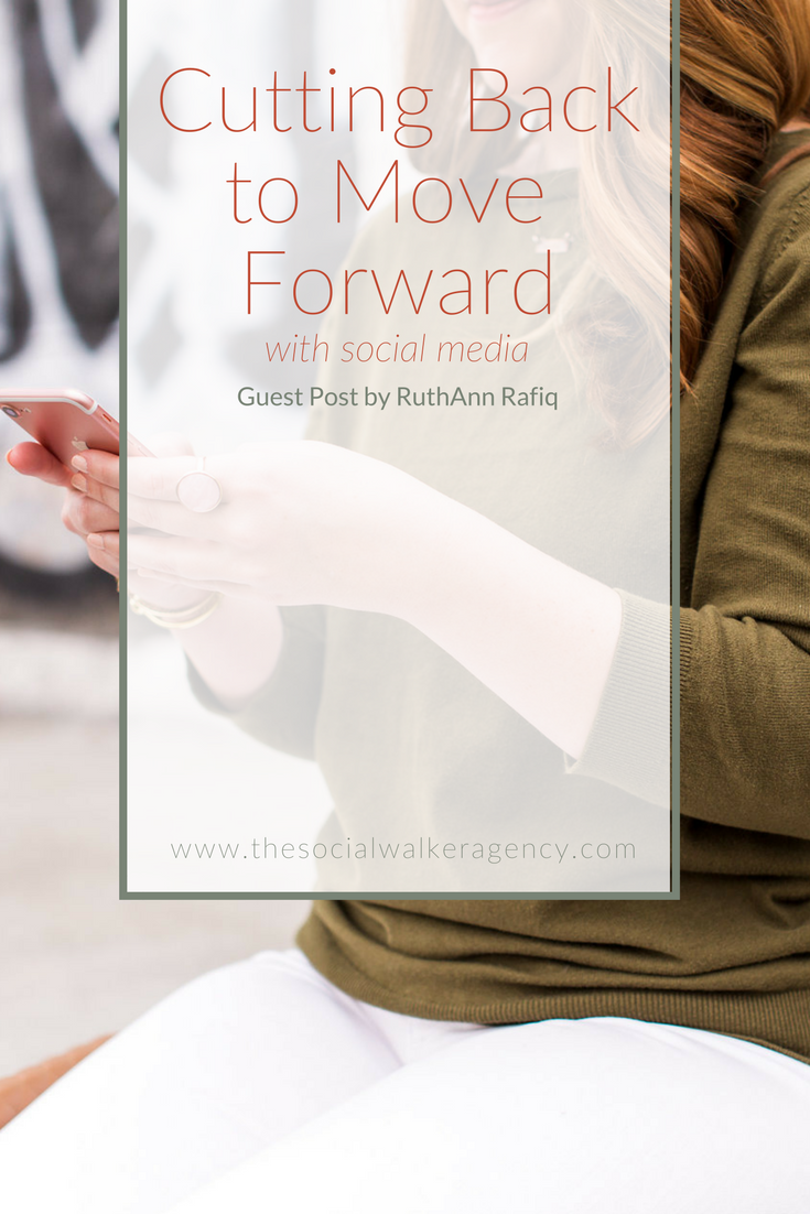 Social media is also one of the BEST things you can do for your business because you can build a true community, one that is mutually supportive and encouraging, one where your audience can get to know you and trust you and ultimately buy from you.  But in order to get the very best out of social media I've discovered that you need to cut back to move forward. Let me share 3 ways I have cut back on my own social media and in turn have moved forward in my business.  |  The Social Walker Agency