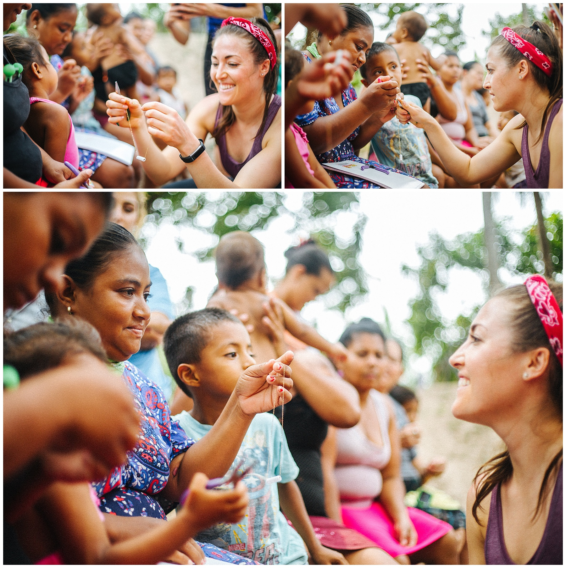 Danica of    Doxahlogy   teaching the women in La Cuchilla how to make our Esperanza necklaces with beads from their children at the Glass School. Photos:  RP Imagery /  @r_petey