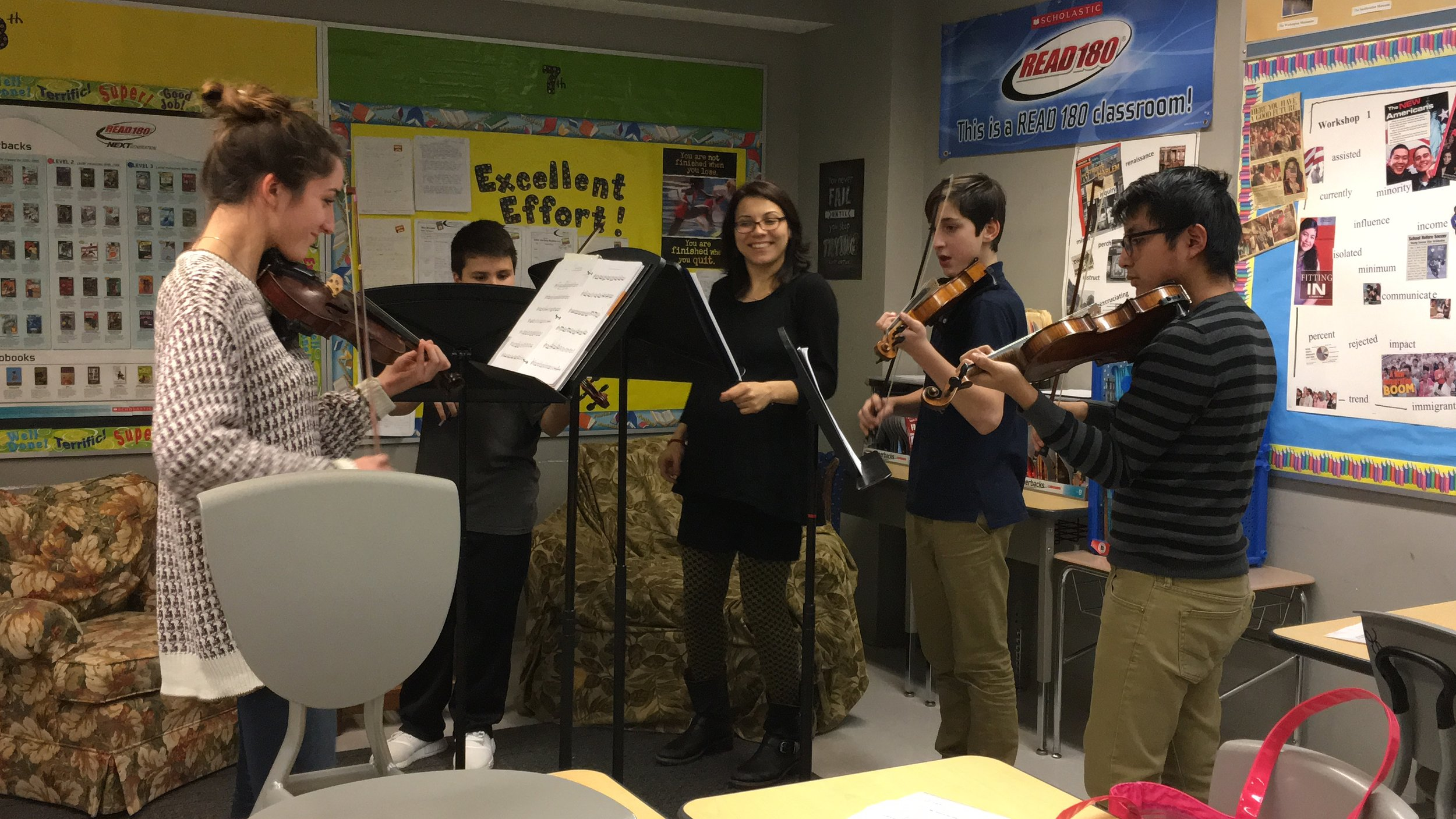 Combined private lesson at John C. Daniels. From left to right: Audrey, Justin, Ms. Yaira, Nicolas, and Cris.  Photo Credit: Karina Irizarry