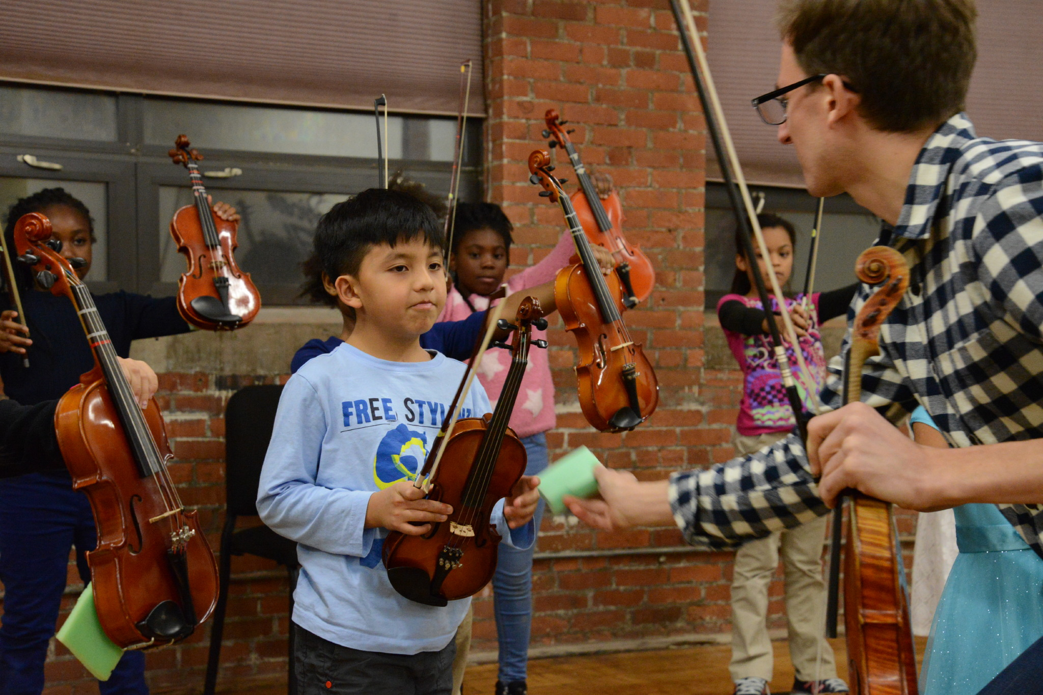 Carlos during his Discovery Orchestra class