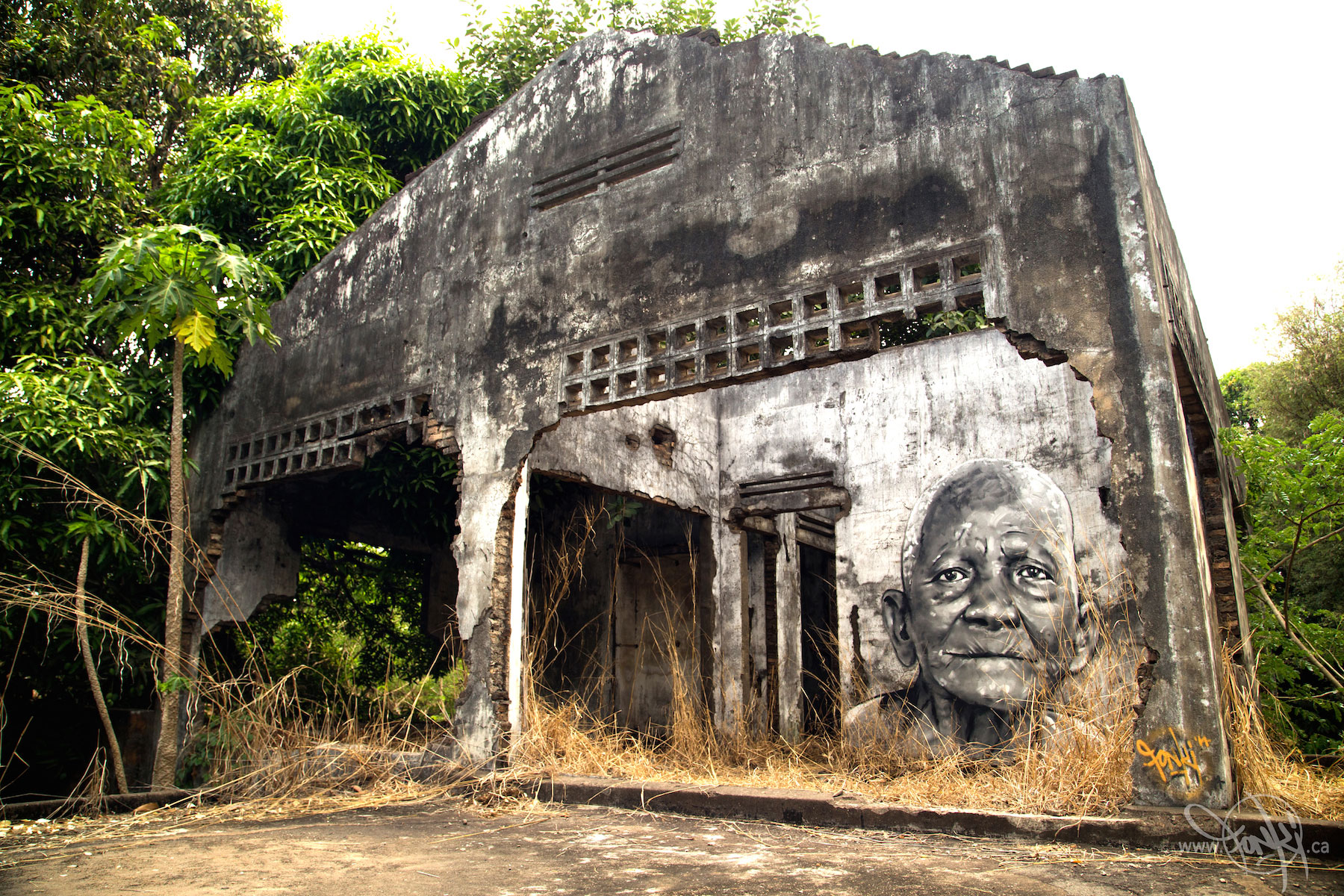 Ashop-Fonki-French colonial house mural-Cambodia-2014