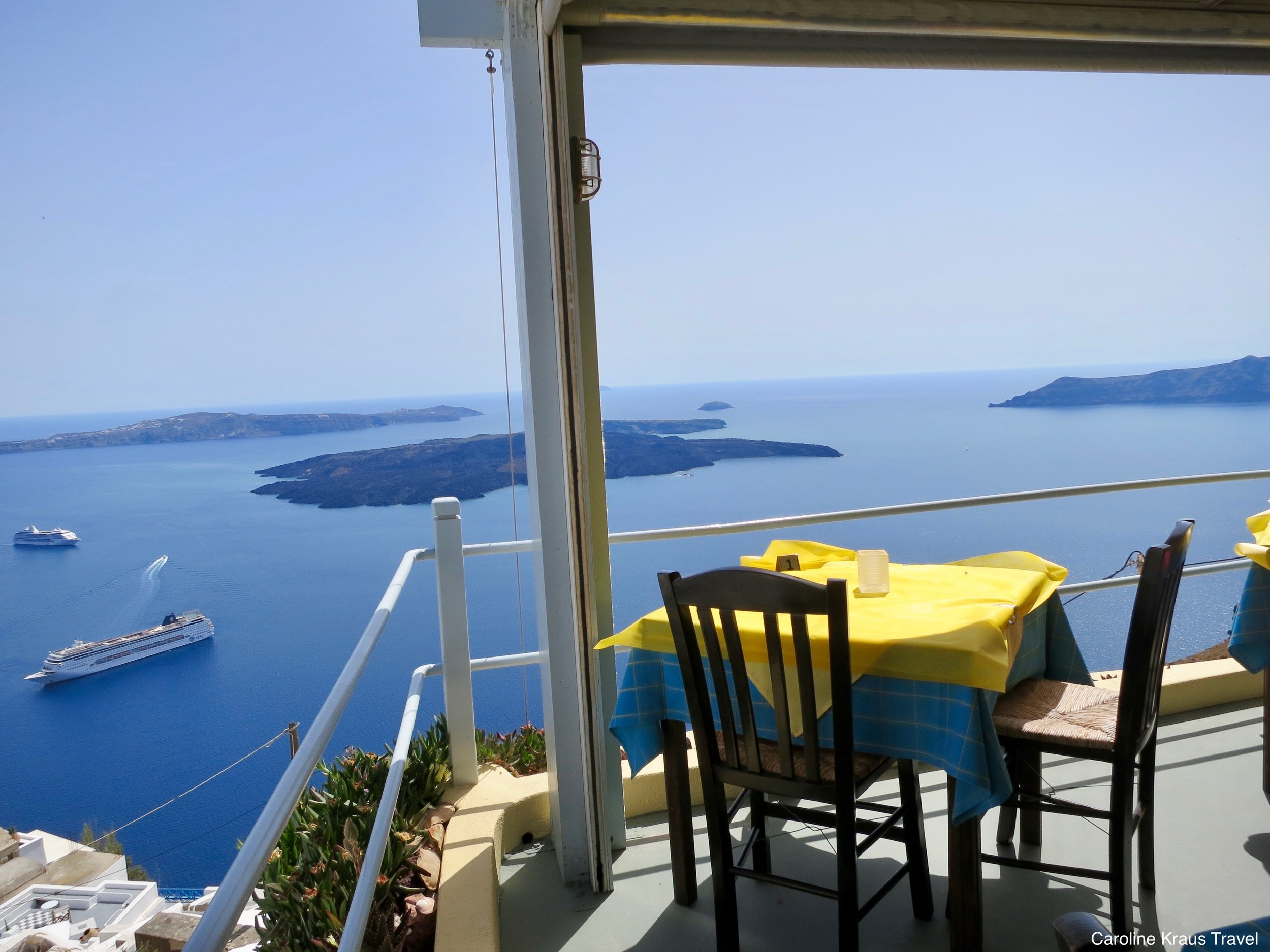 Lunch with a view in Santorini, Greece