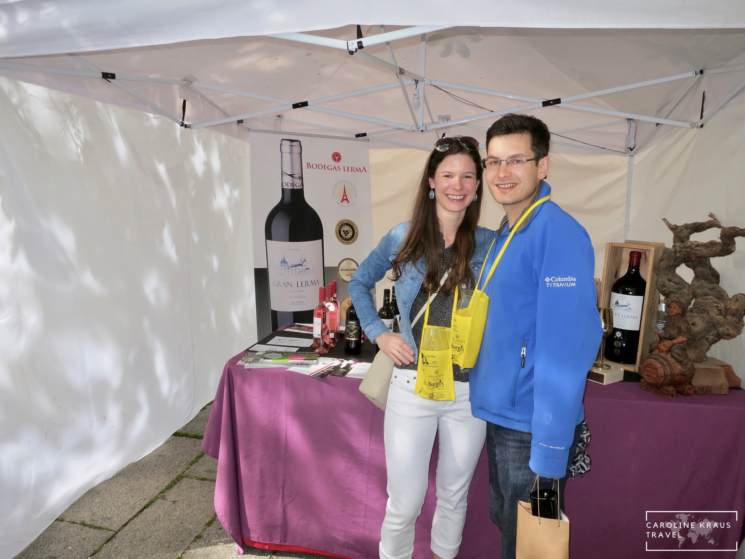 My husband and I at on of the wine festival booths in Covarrubias, Spain