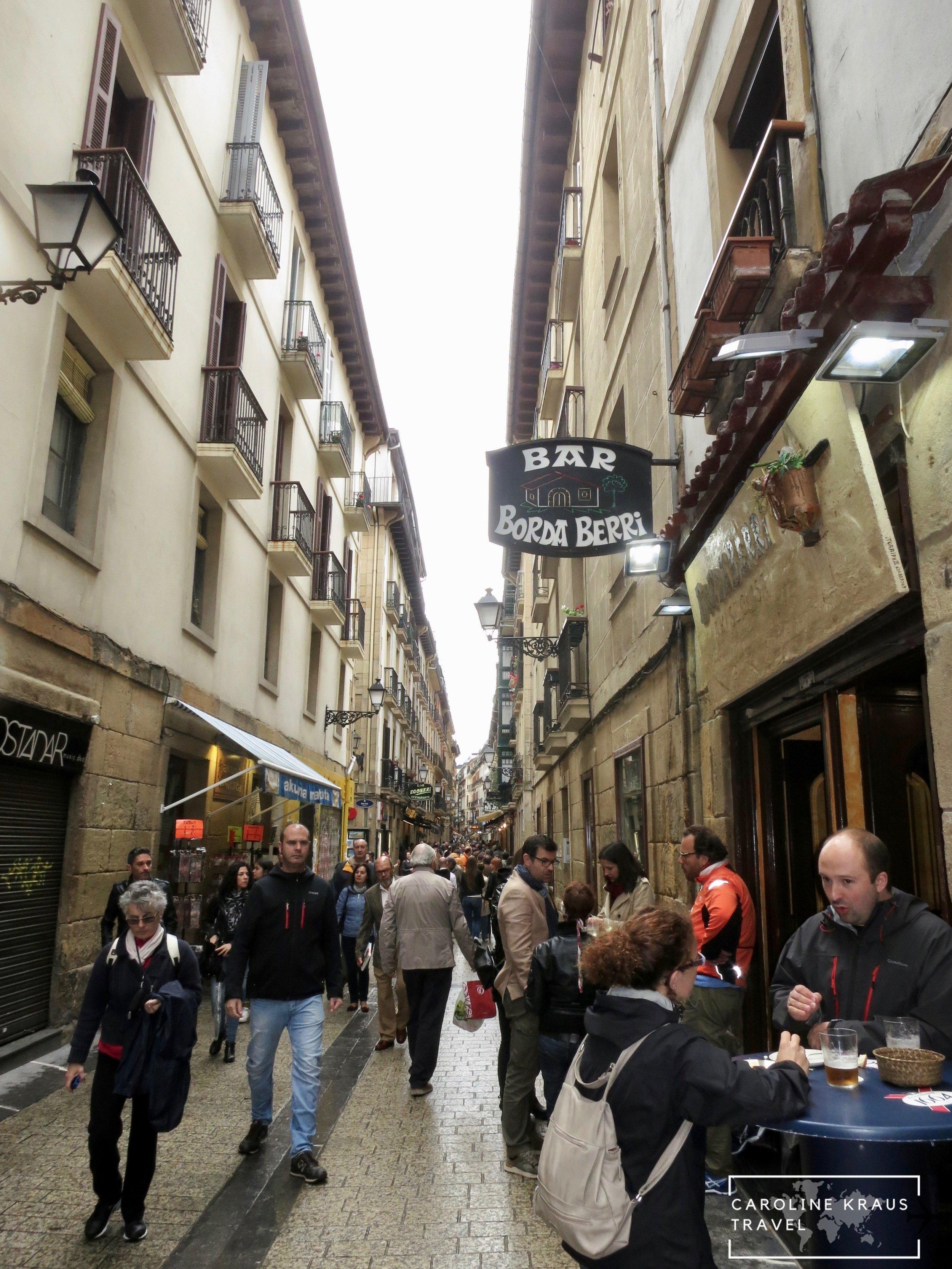 Pintxos bars on the streets of San Sebastian, Spain