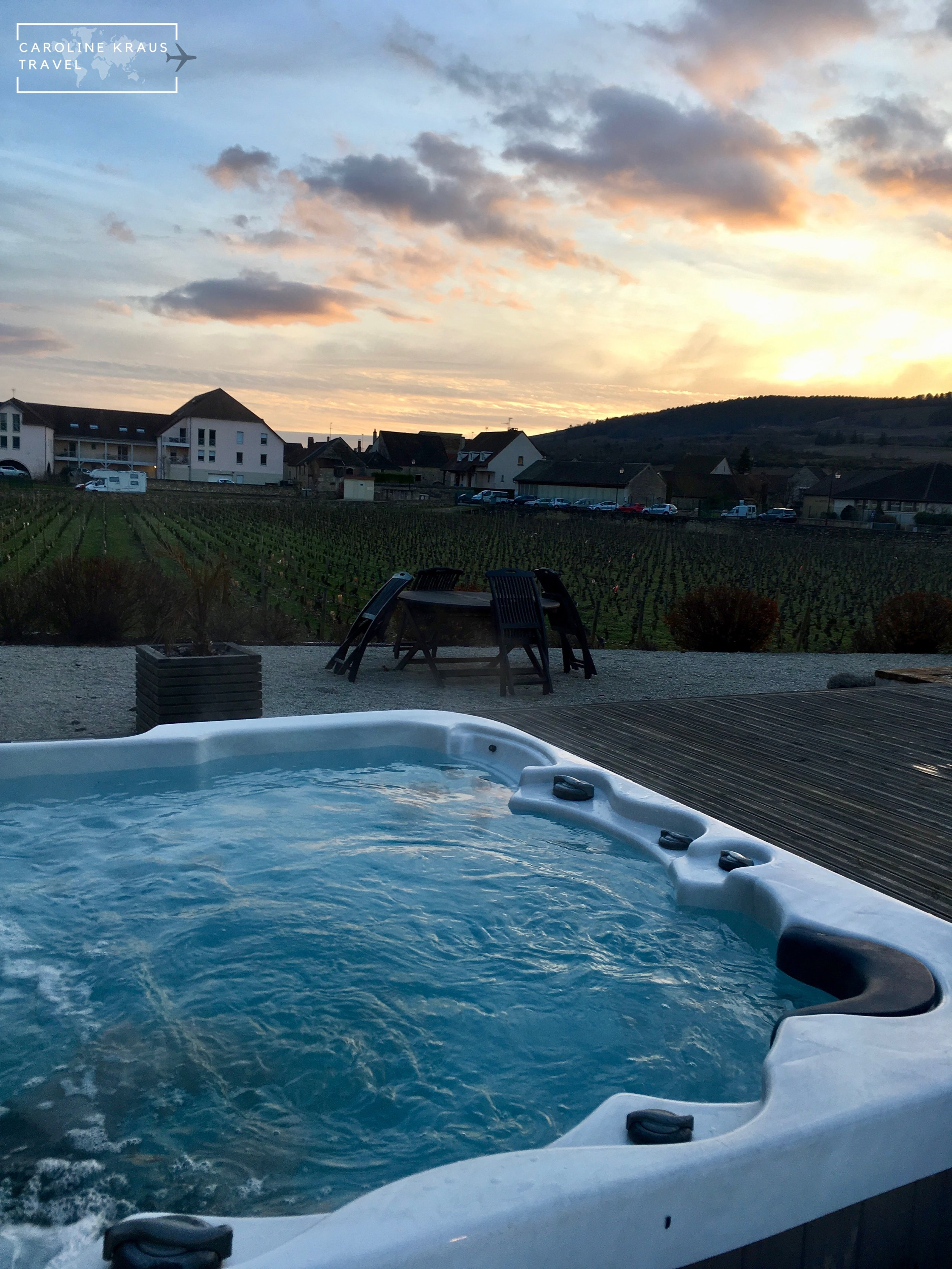 Our hot tub at sunset