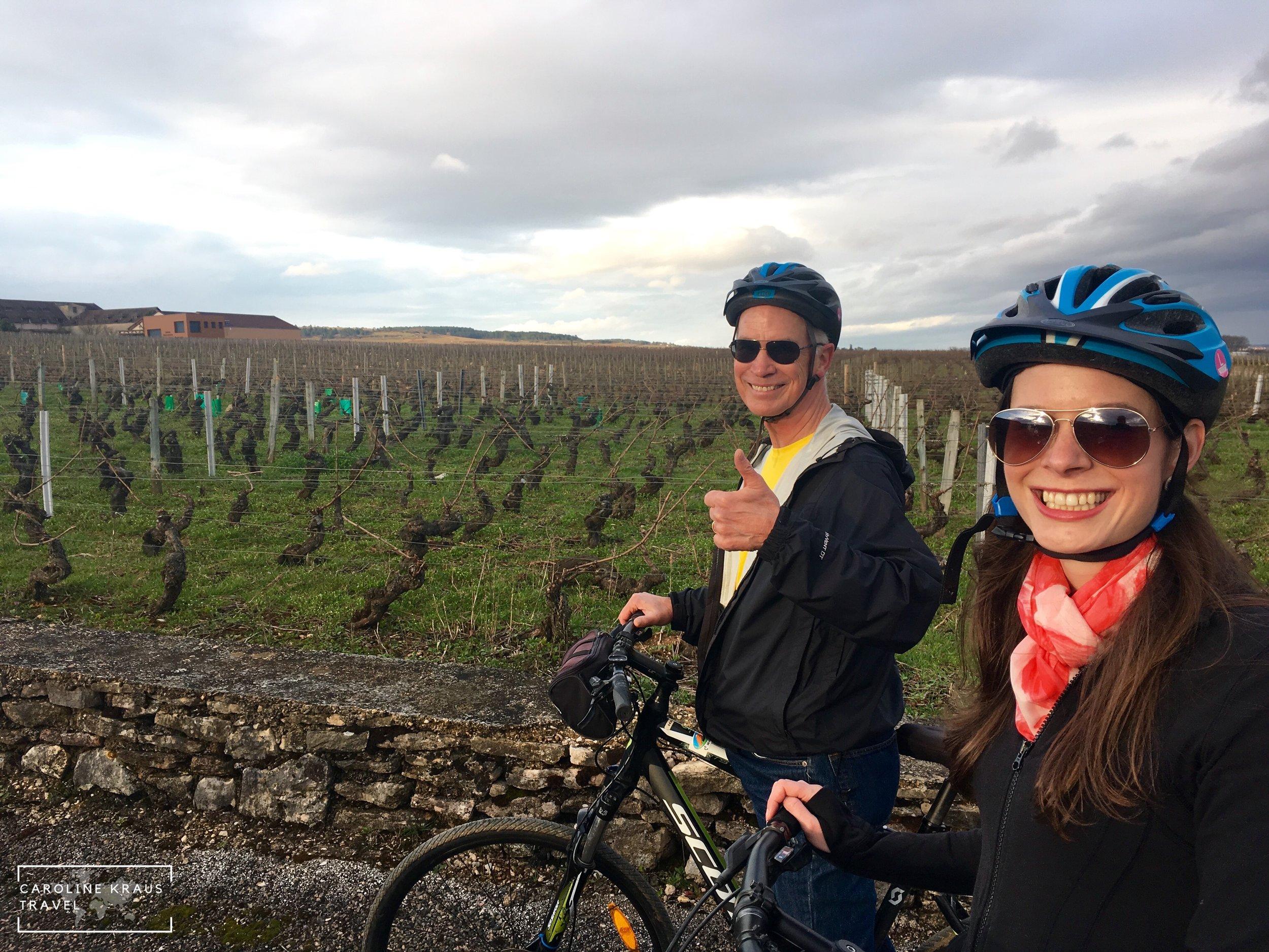 Biking through the vineyads