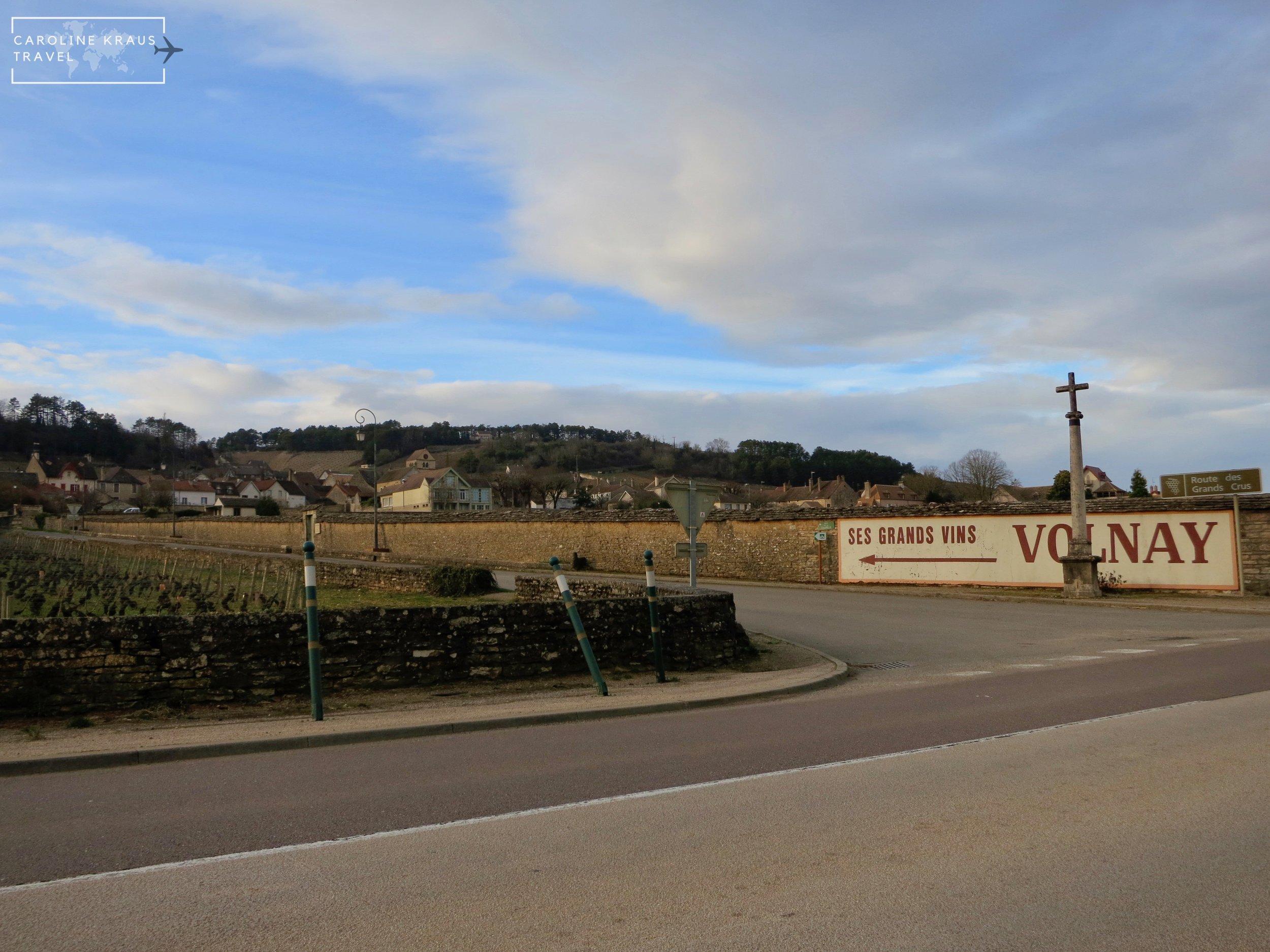 Biking into the village of VOlnay