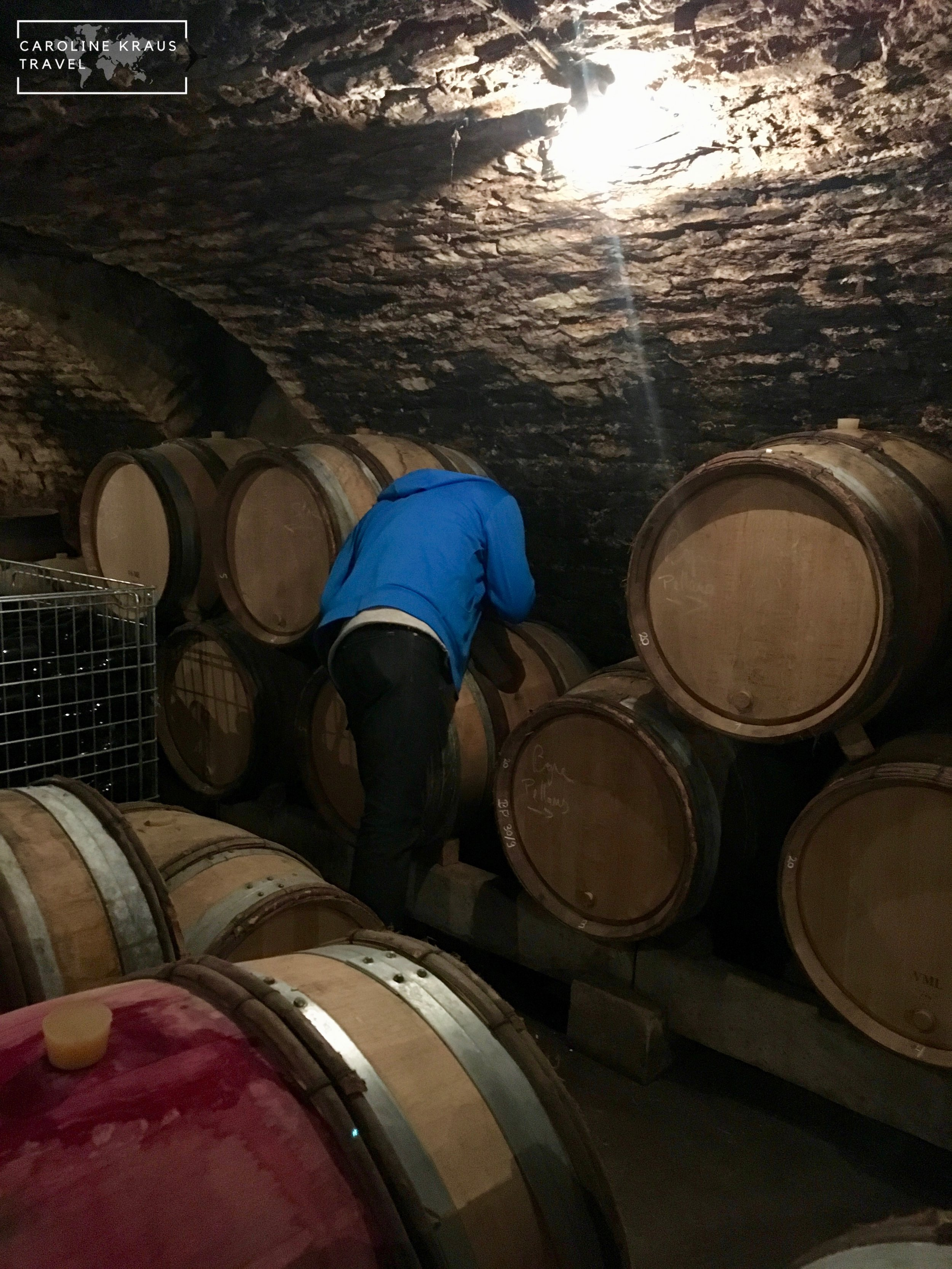 Richard Bos extracting wine from the barrel for our tasting