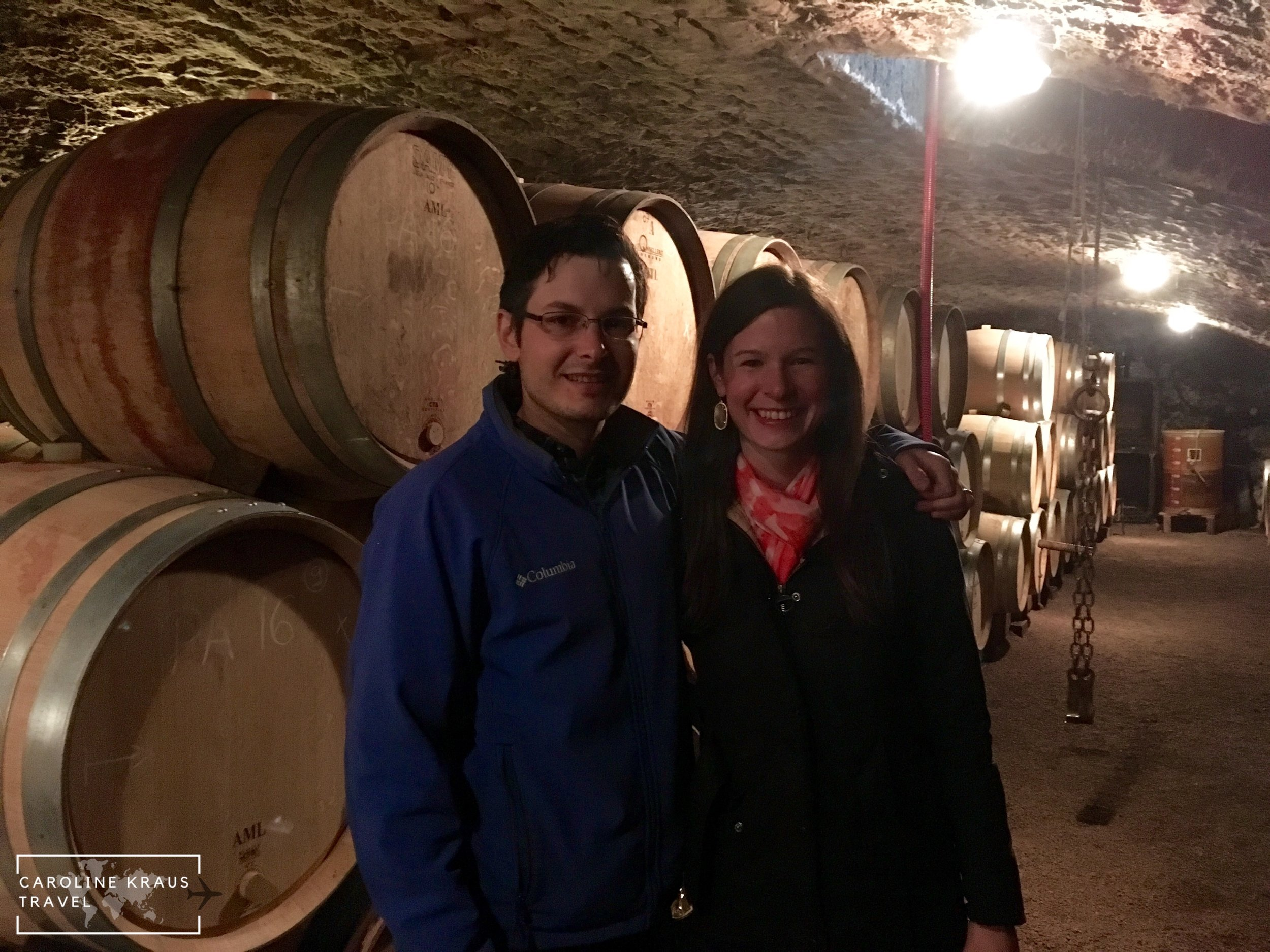 My husband and I in the Domaine LeJeune wine cave