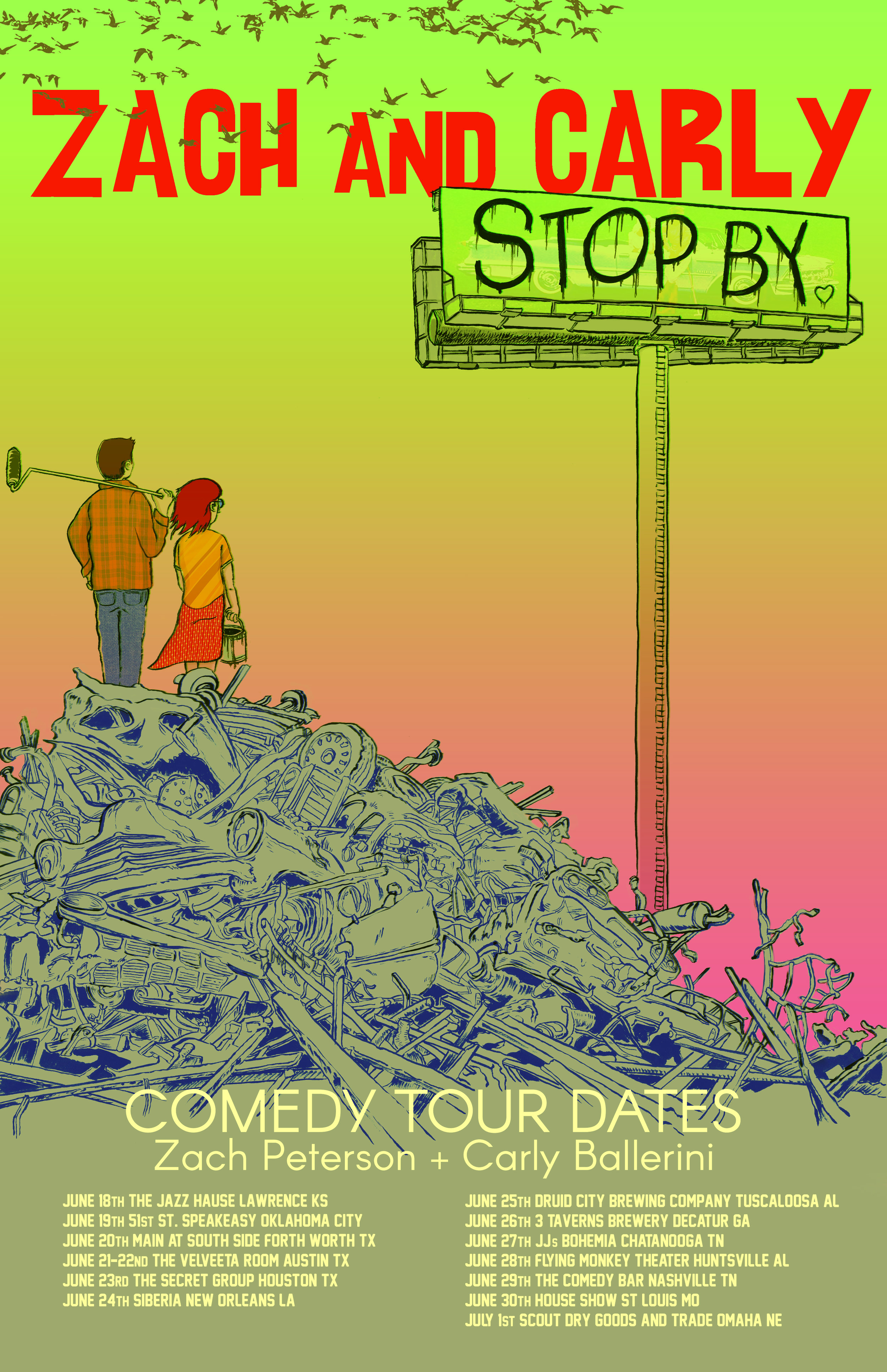 2019 Tour poster for Zach Peterson and Carly Ballerni