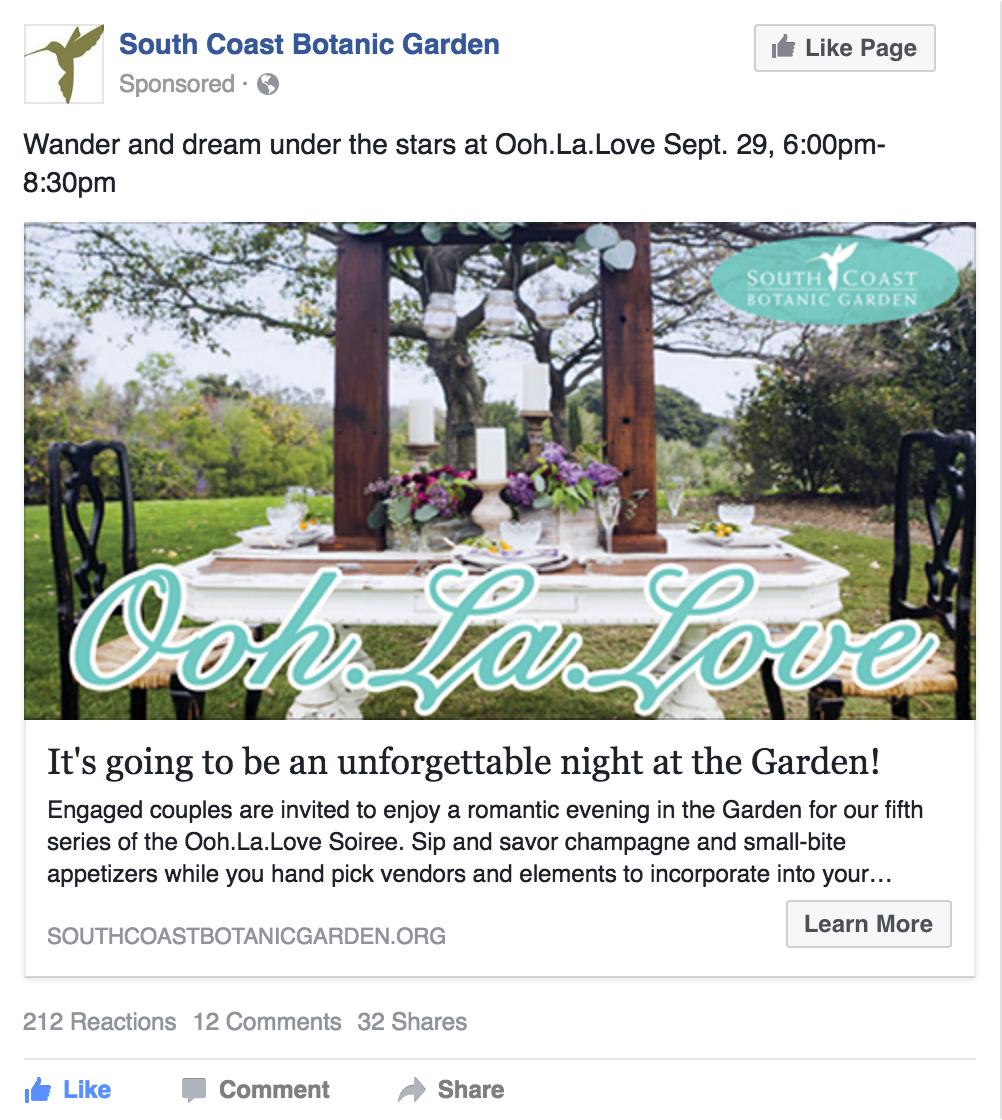 Facebook Advertising for 1 night event at South Coast Botanic Garden