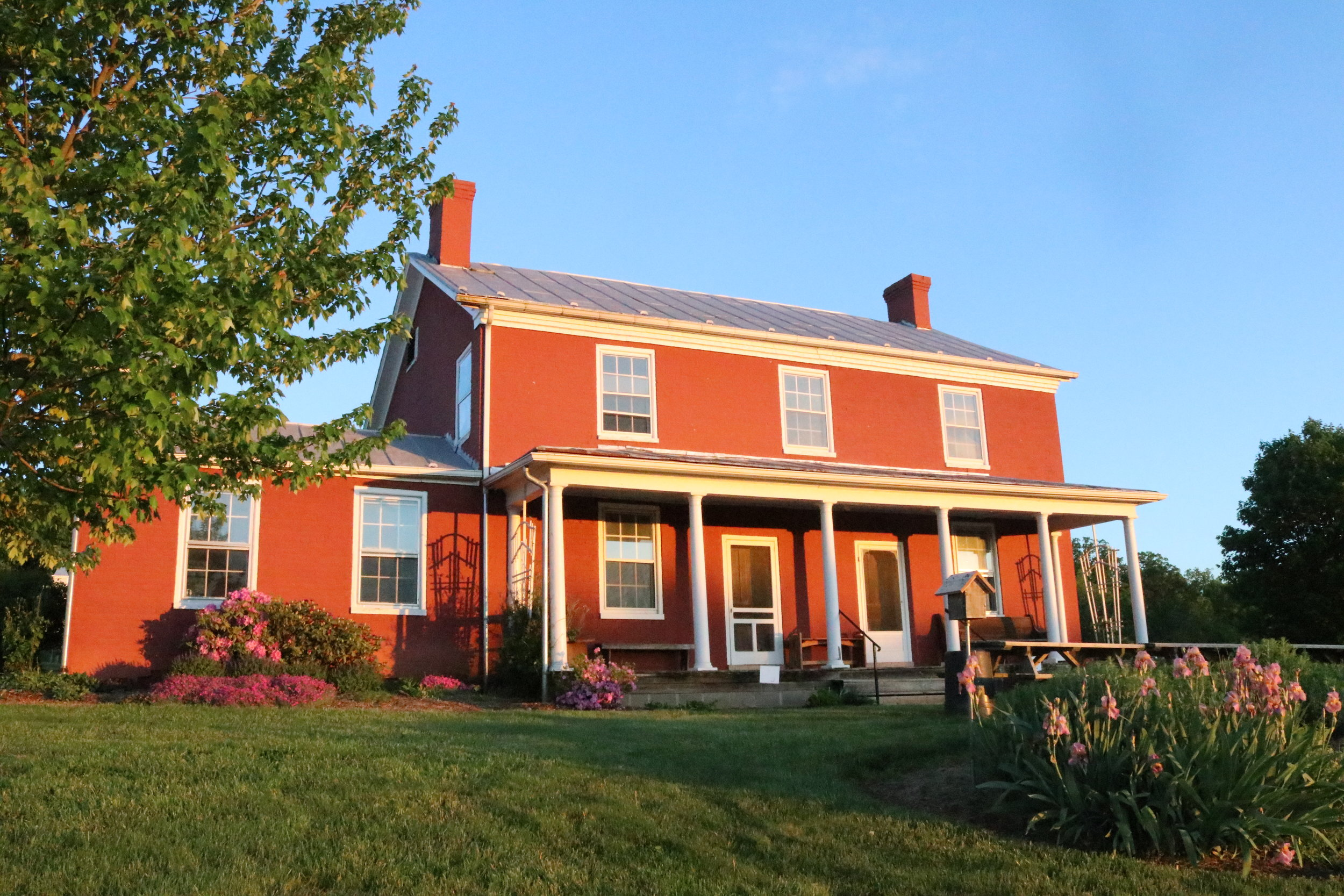 The Burkholder-Myers house on the CrossRoads campus of the Valley Brethren-Mennonite Heritage Center. The widow Rebecca Burkholder is known to have harbored young men escaping conscription into the Confederate army in this house.