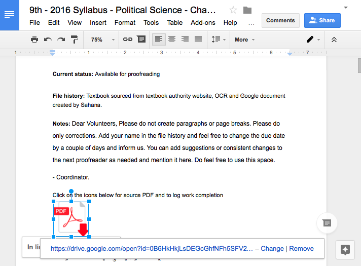 A screenshot of a typical chapter as Google Document. Read Section 3. Click on the image to zoom in