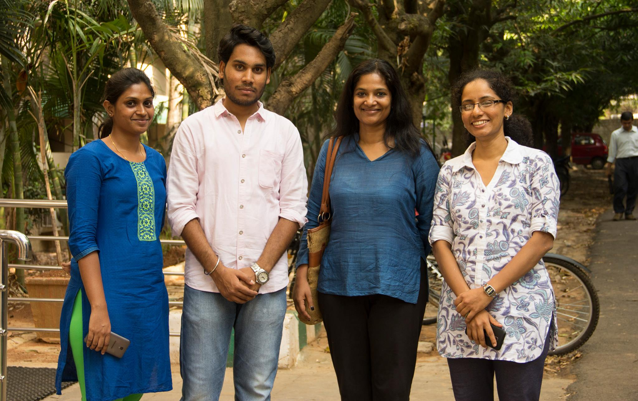 Left to right: Pooja Bai, Harish N, Pallavi MD and Sahana Venugopal at Indian Institute of Science, Bengaluru