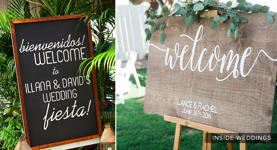 Consider a big custom framed sign to excite guests and let them know they're in the right place!