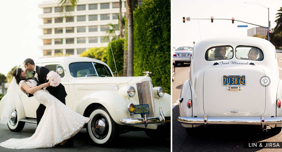 "For the traditional approach, pack your honeymoon bags in a vintage car and don't forget the ""Just Married"" sign on the back!"