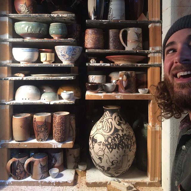 right back at cha tomber!! best firing iv ever hadd the good graces of being involved with! @tombhala @jaspermarino @oldtreeart @boyswithbangs  @therealkilojones #potterymafia #pottery #pottery #pottery #clayfuckers