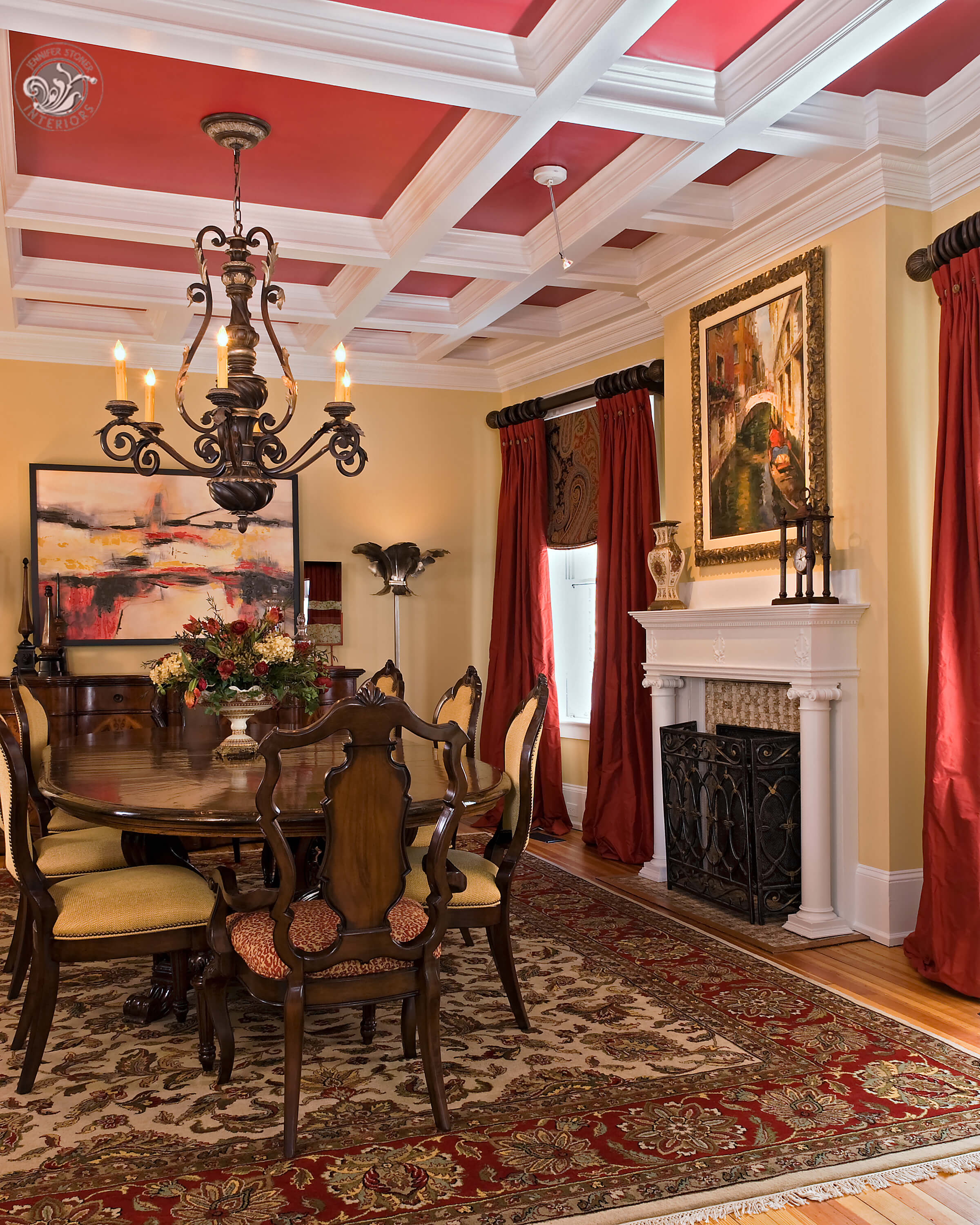 Monument Avenue Richmond dining room coffered ceiling