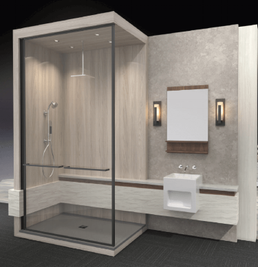Wilsonart Wet Wall System – Benjamin Grey 1887K-22 (behind mirror wall), Grey Elm 8201K-12 (shower), Pearl Sequoia 5001K-07 (vanity wrap) and Mangalore Mango 7984-38 (vanity reveal).
