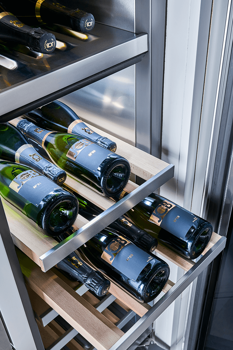 """The 18""""wide integrated wine column holds up to 71 bottles and offers two temperature zones."""