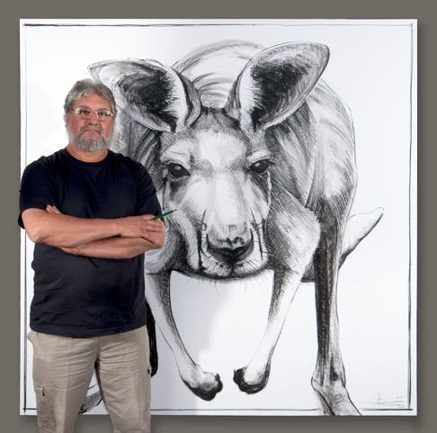Michael Chorney with  Portrait of Kangaroo No 8,  2015, conte and graphite on frame stretched paper, 172 x 172cm