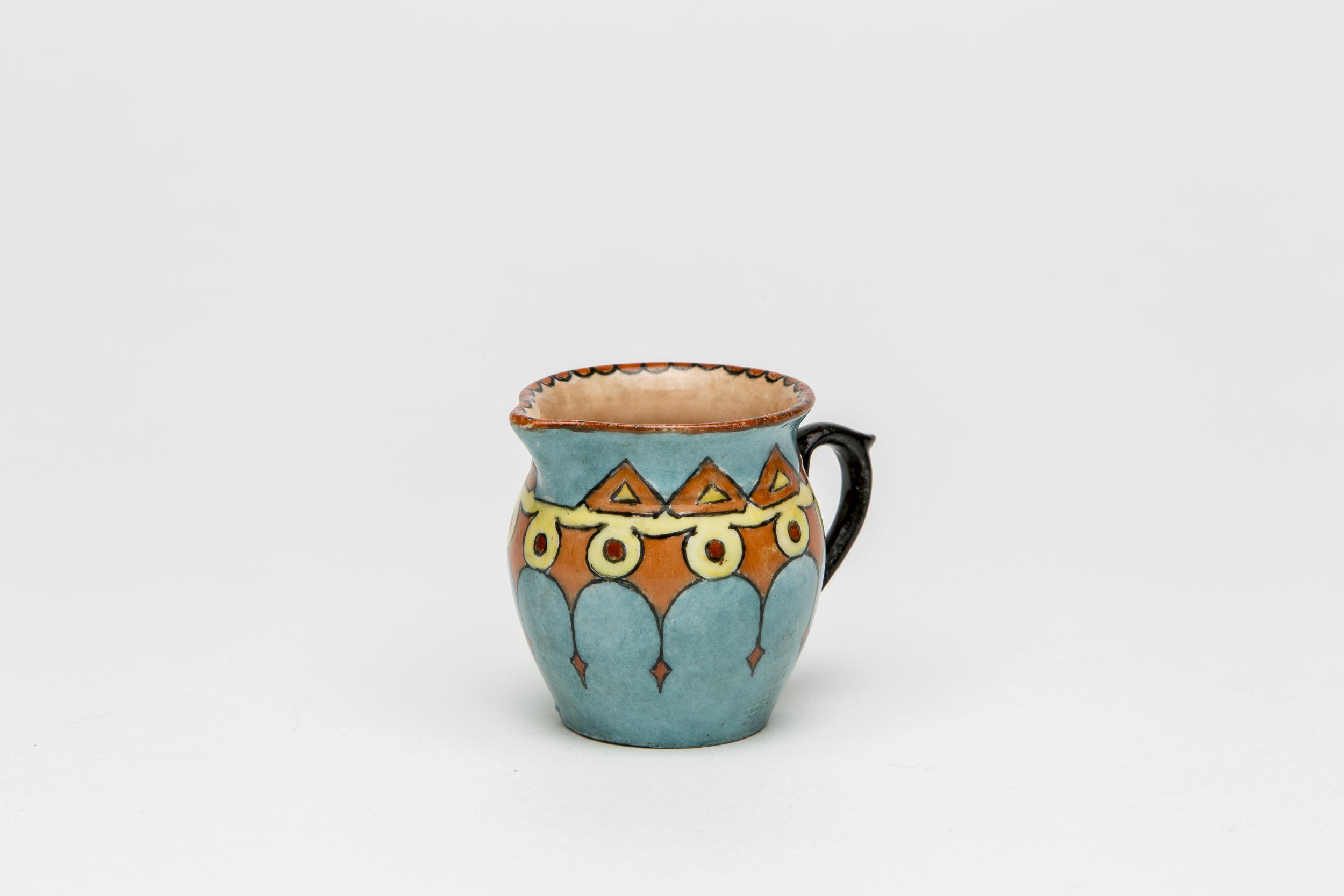 Maude Gum, 1885-1973,  China painted jug , c 1920-30s, 6.5 x 5.5cm.