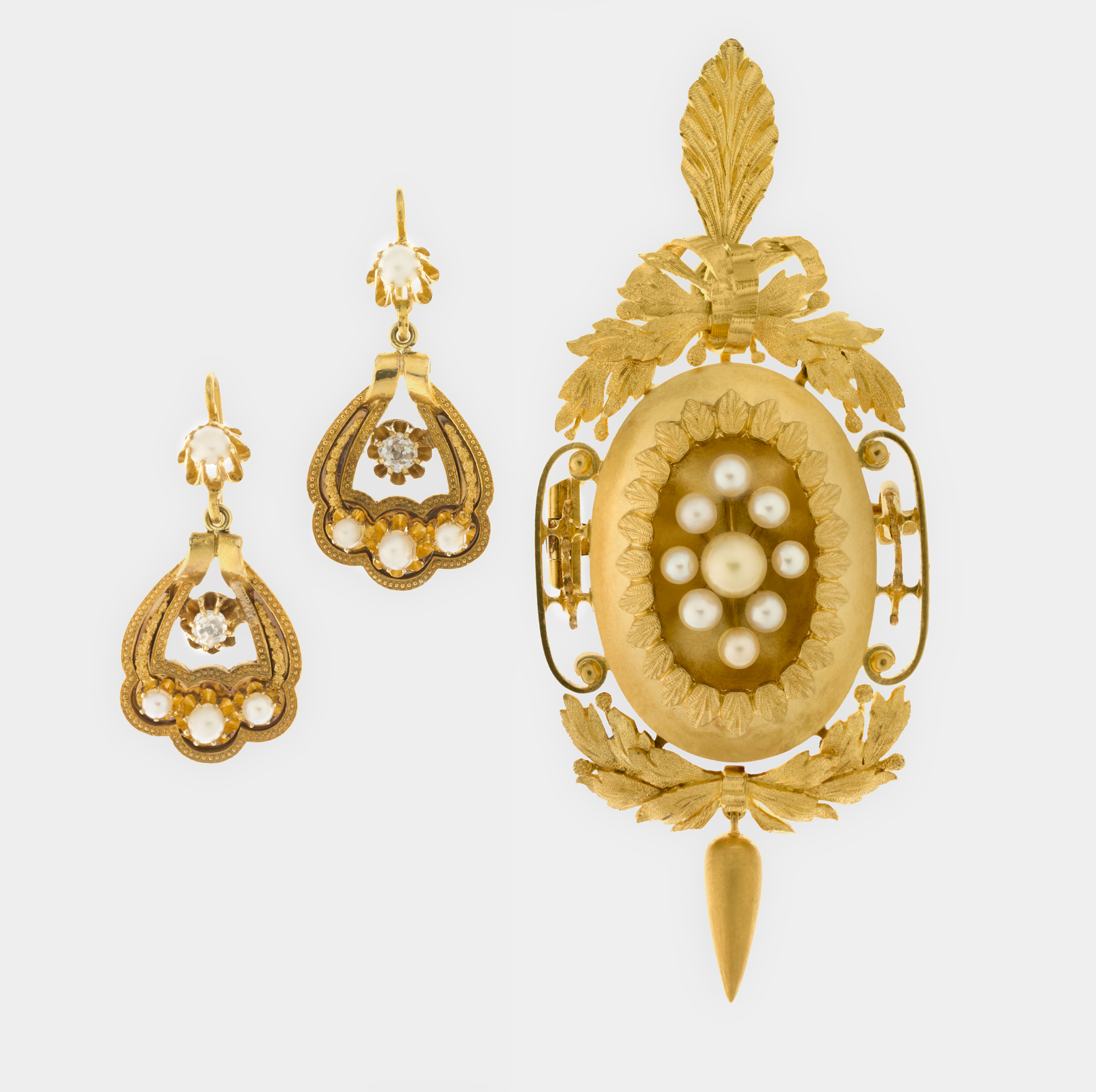 Henry Steiner,  Pendant/brooch and pair of ear pendants set, in fitted case c.1870.18 carat gold, seed pearls, diamonds.National Gallery of Australia, Canberra.Purchased 2012