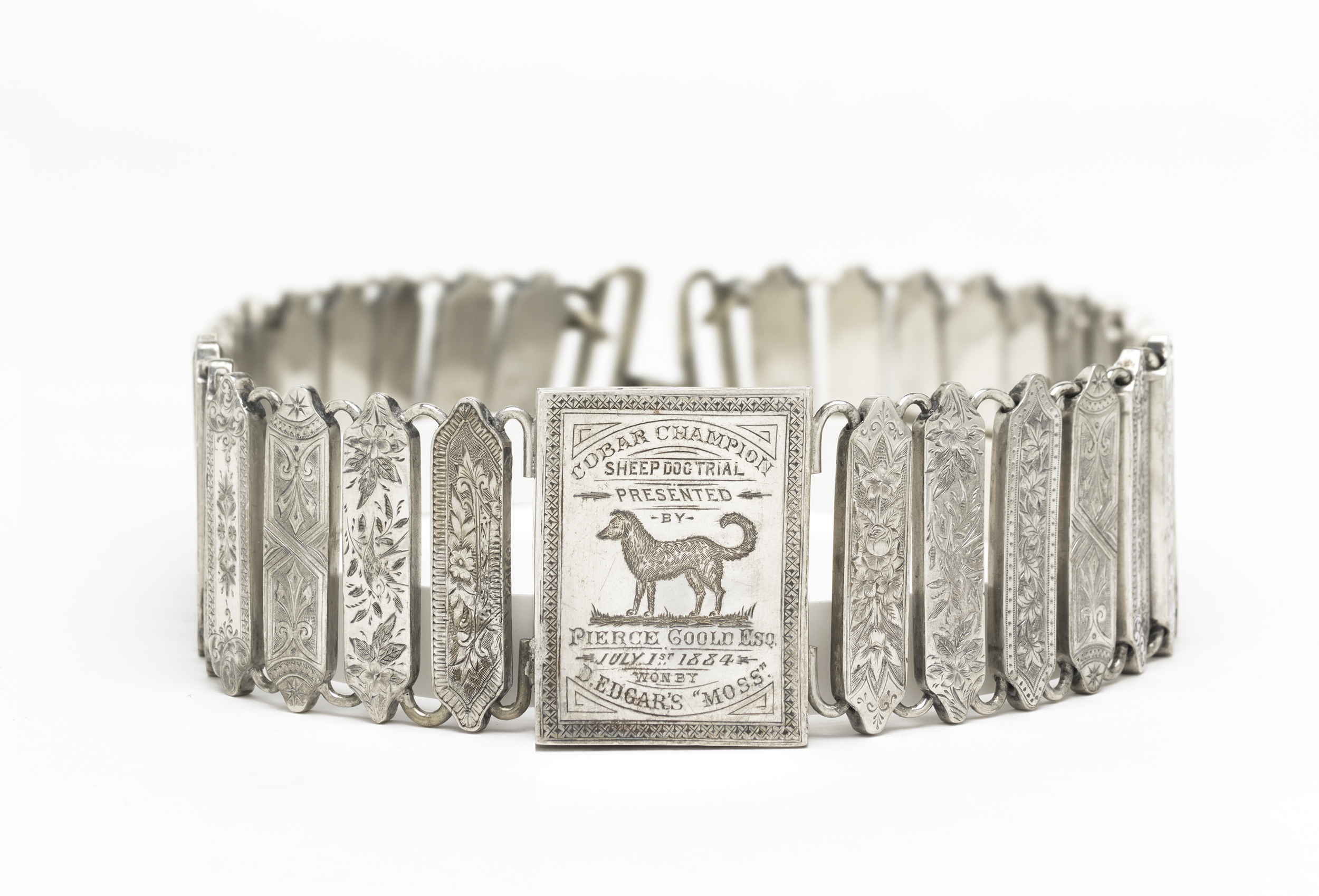 Unknown Australian silversmith,  Cobar Champion Sheep Dog Trial trophy collar c.1884,engraved silver.National Gallery of Australia, Canberra. Purchased 2008