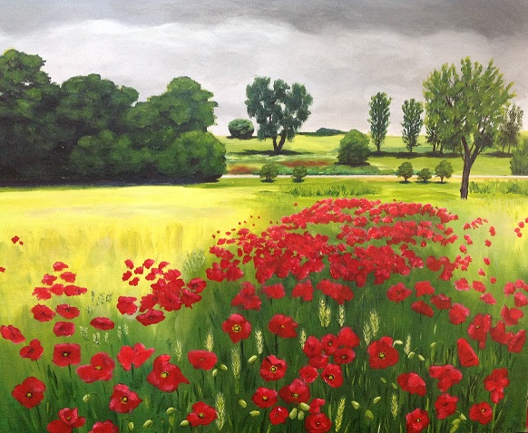 Anita Millsteed,  Field of Poppies , 2018, acrylic, 50 x 60cm