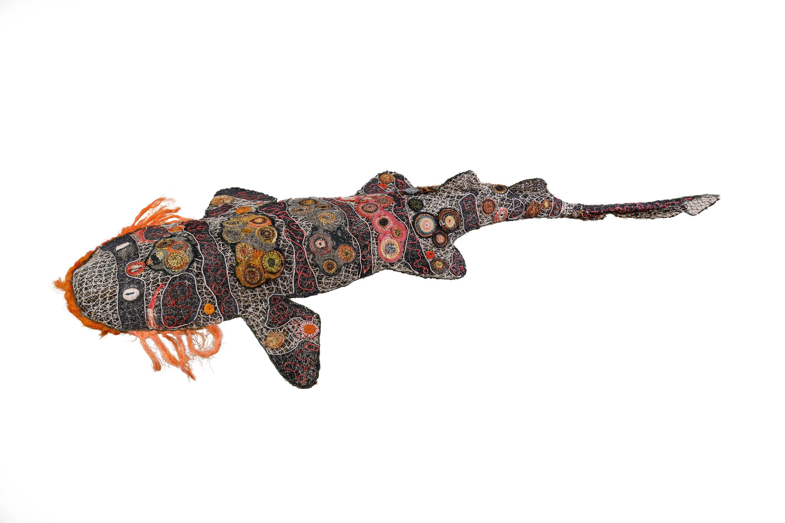 GhostNets Australia   Wobbegong Shark, 2017 Fishing net, fishing line, nylon rope, plastic, steel wire, bamboo 1450mm x 3600mm Photography by Steve Gonsalves