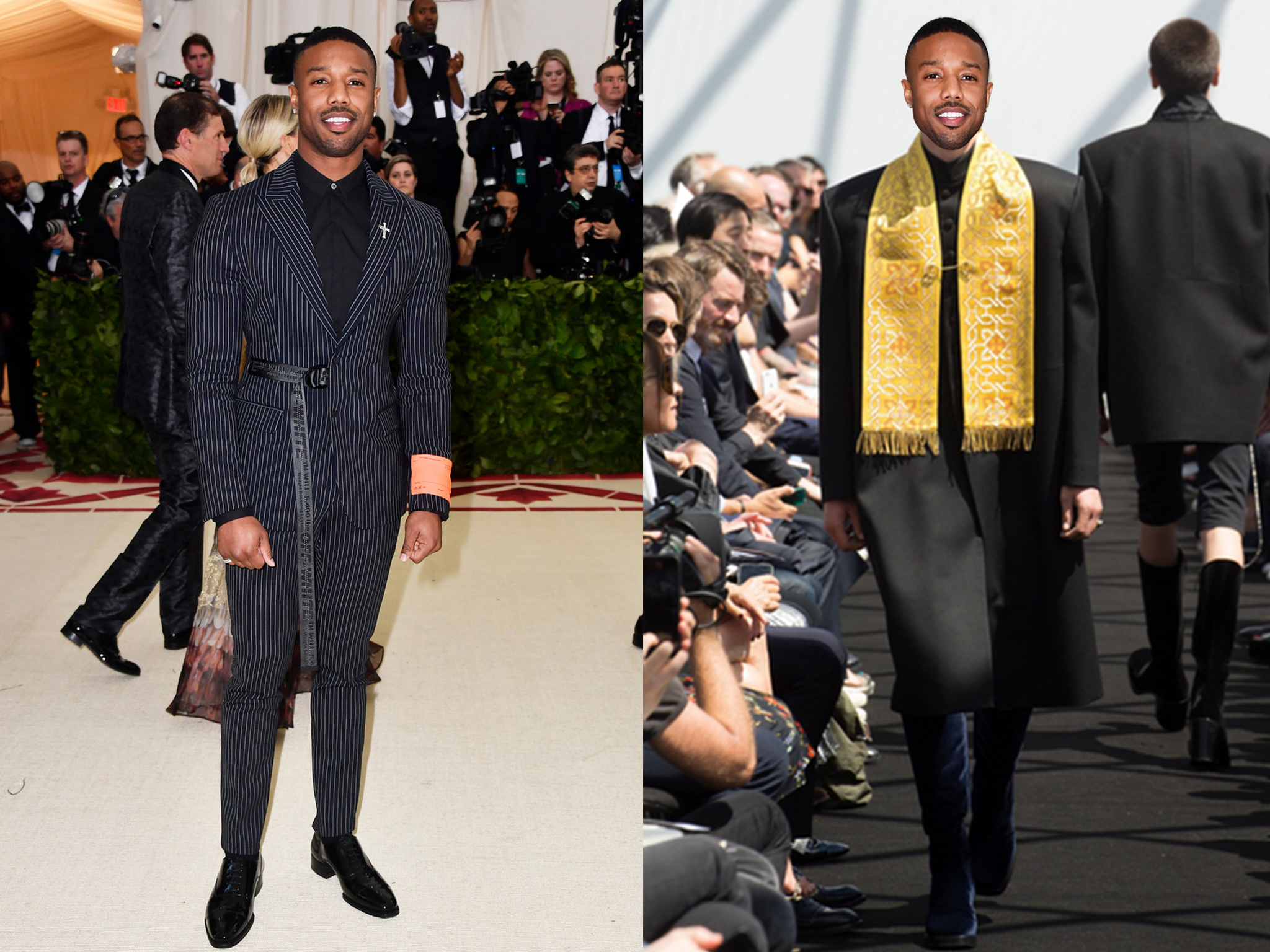 left: Michael in an Off-White , right (we wish he would wear this instead): Balenciaga Spring 2017