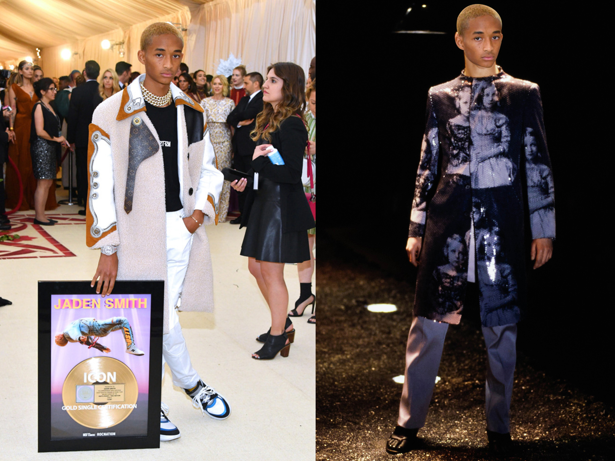 left: Jaden Smith in Louis Vuitton, right (we wish he would wear this instead): Alexander McQueen Fall 1998