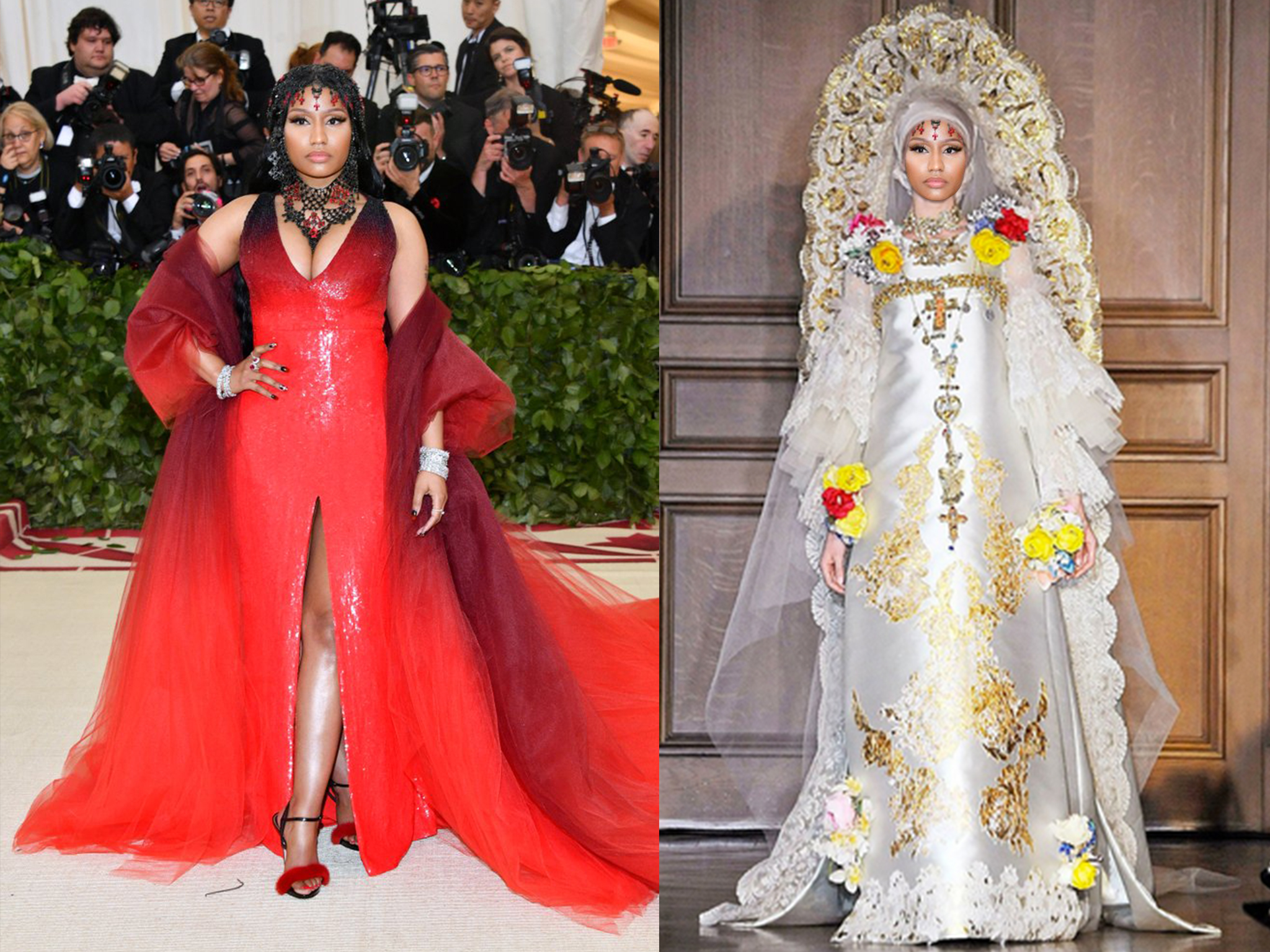 left: Nicki in Oscar de la Renta, right (we wish she would wear this instead): Christian Lacroix Haute Couture Fall 2009
