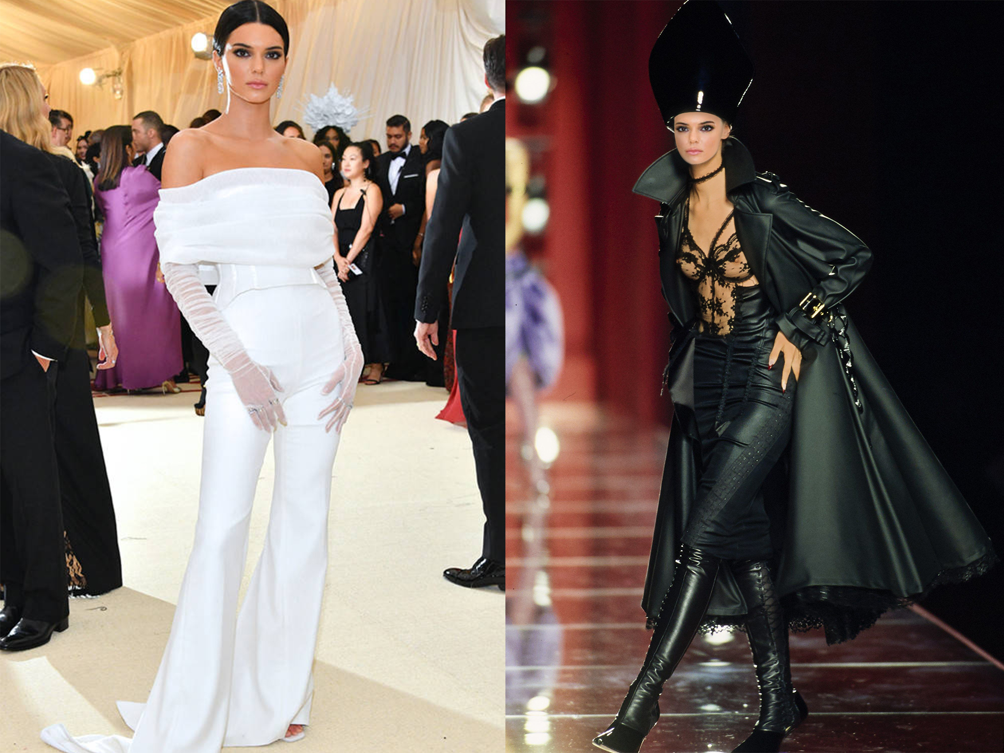 left: Kendall in Off-White, right (we wish she would wear this instead): Christian Dior Couture Fall 2000