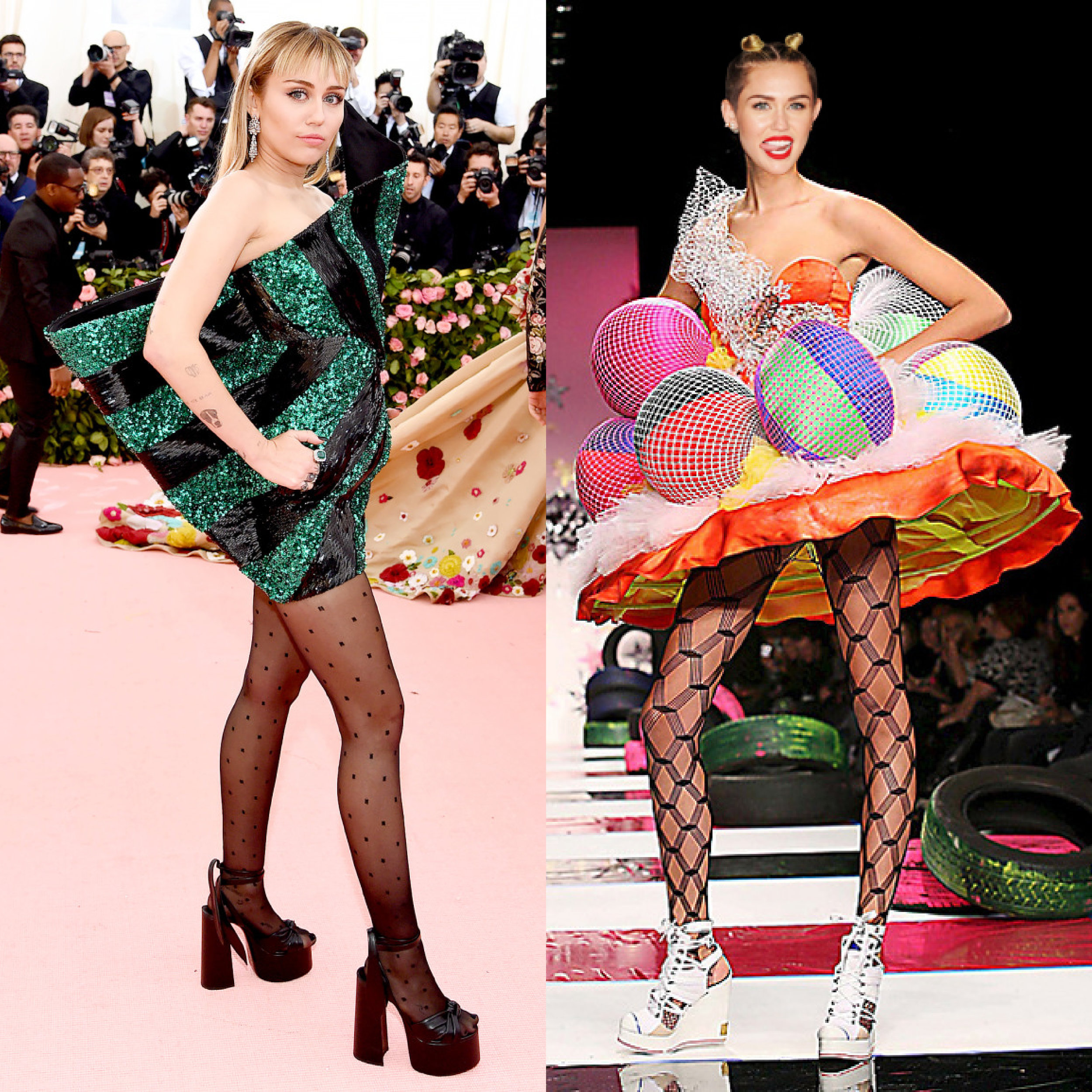 left: Miley Cyrus in Saint Laurent, right (we wish she would wear this instead): Heatherette Spring 08
