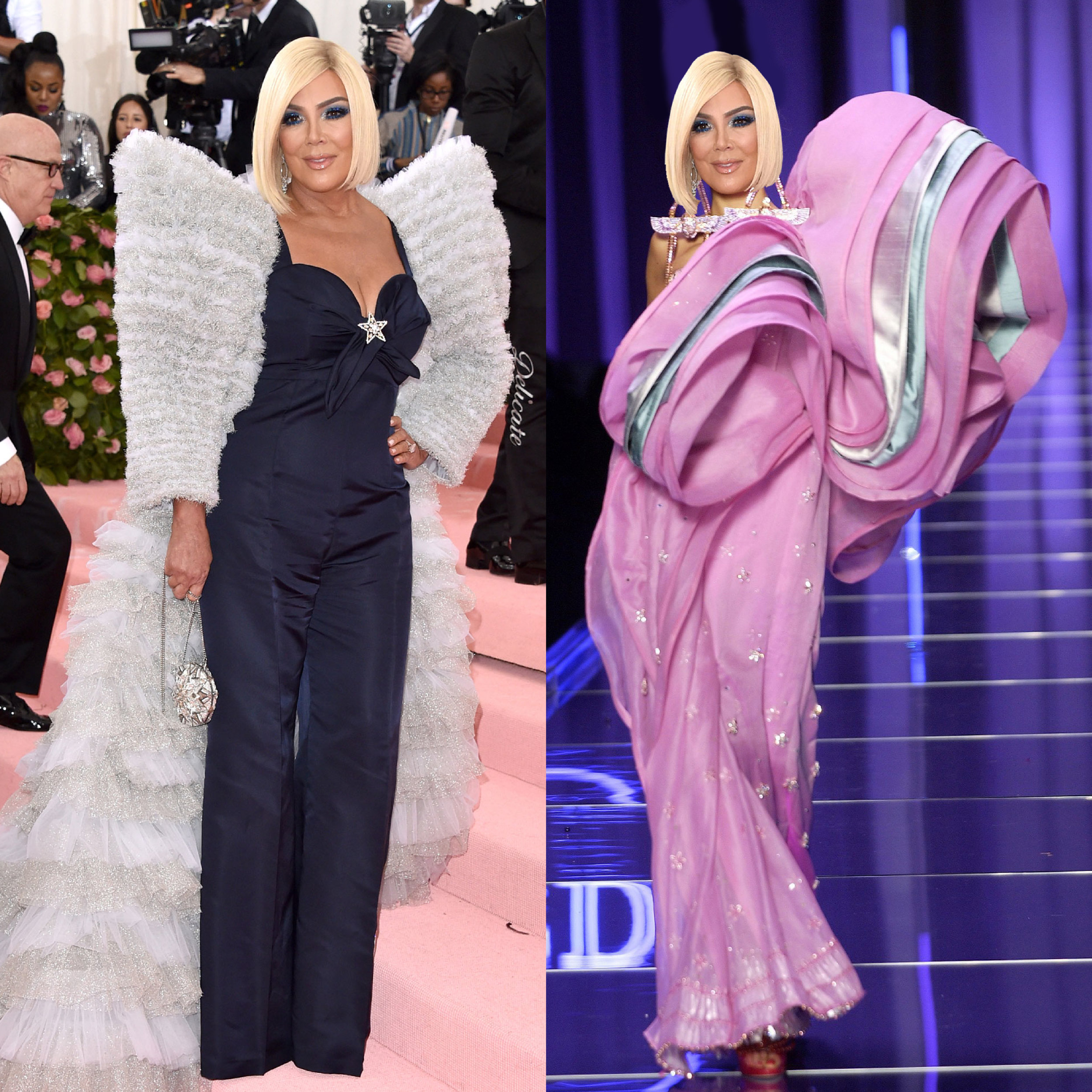 left: Kris Jenner in Tommy Hilfiger, right (we wish she would wear this instead): Christian Dior Couture Spring 04
