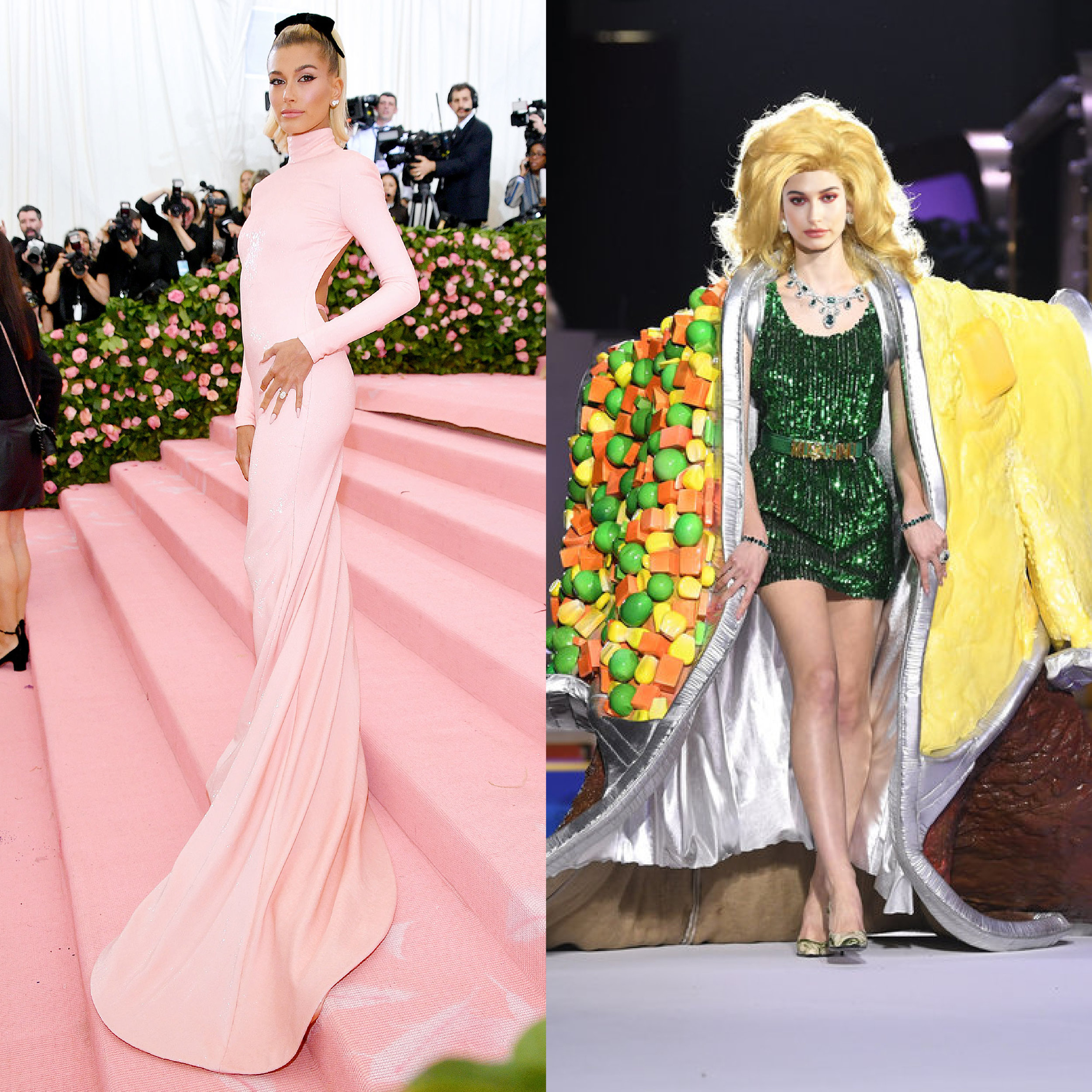 left: Hailey Bieber in Alexander Wang , right (we wish she would wear this instead): Moschino Fall 19