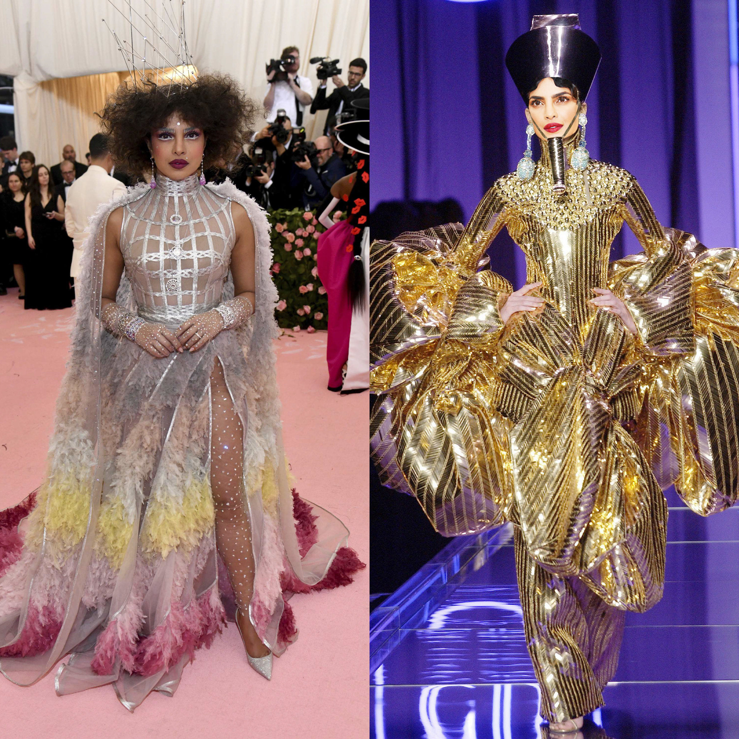 left: Priyanka Chopra in Dior, right (we wish she would wear this instead): Christian Dior Couture Spring 2004