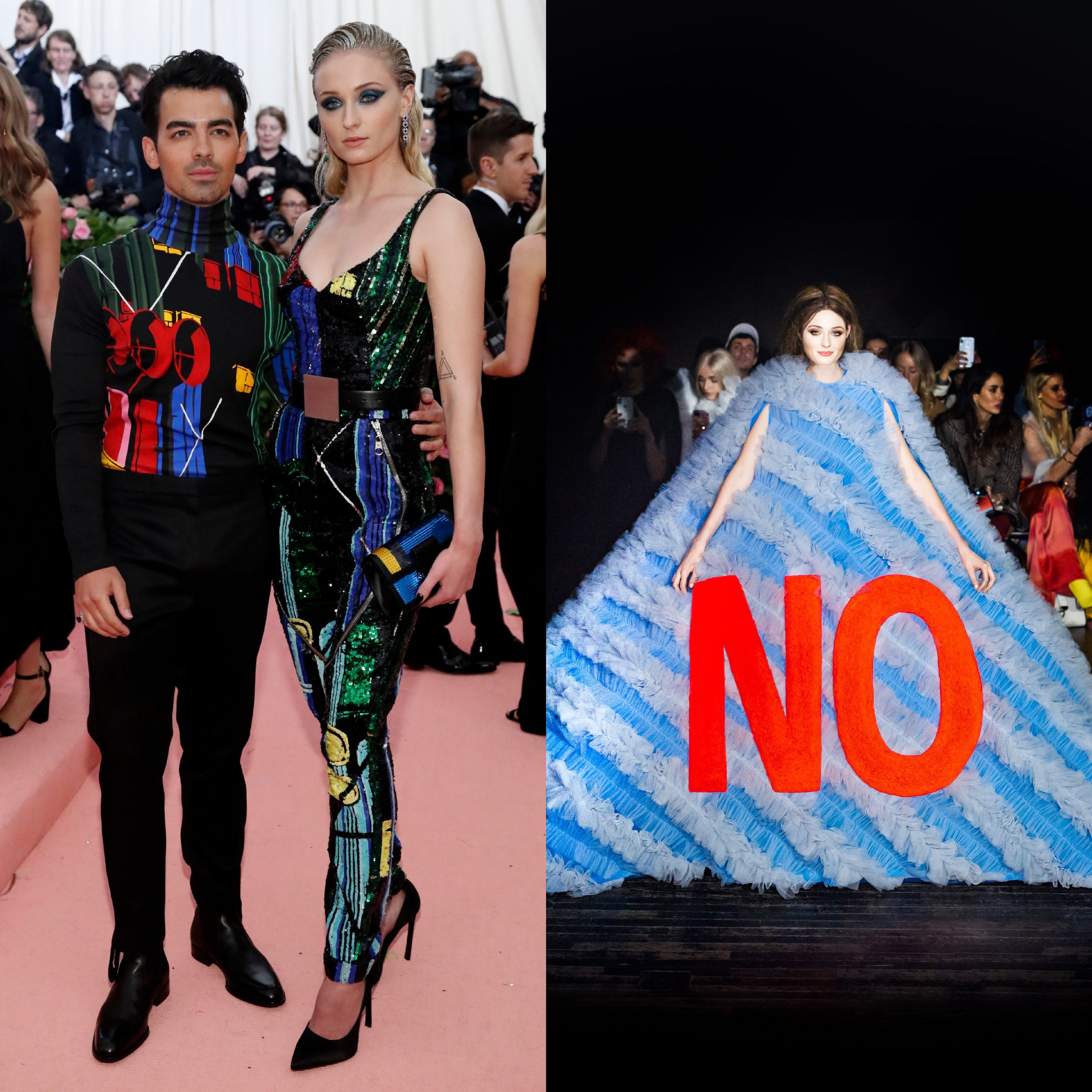 left: Sophie Turner in Louis Vuitton, right (we wish she would wear this instead): Viktor and Rolf Spring 19 Couture