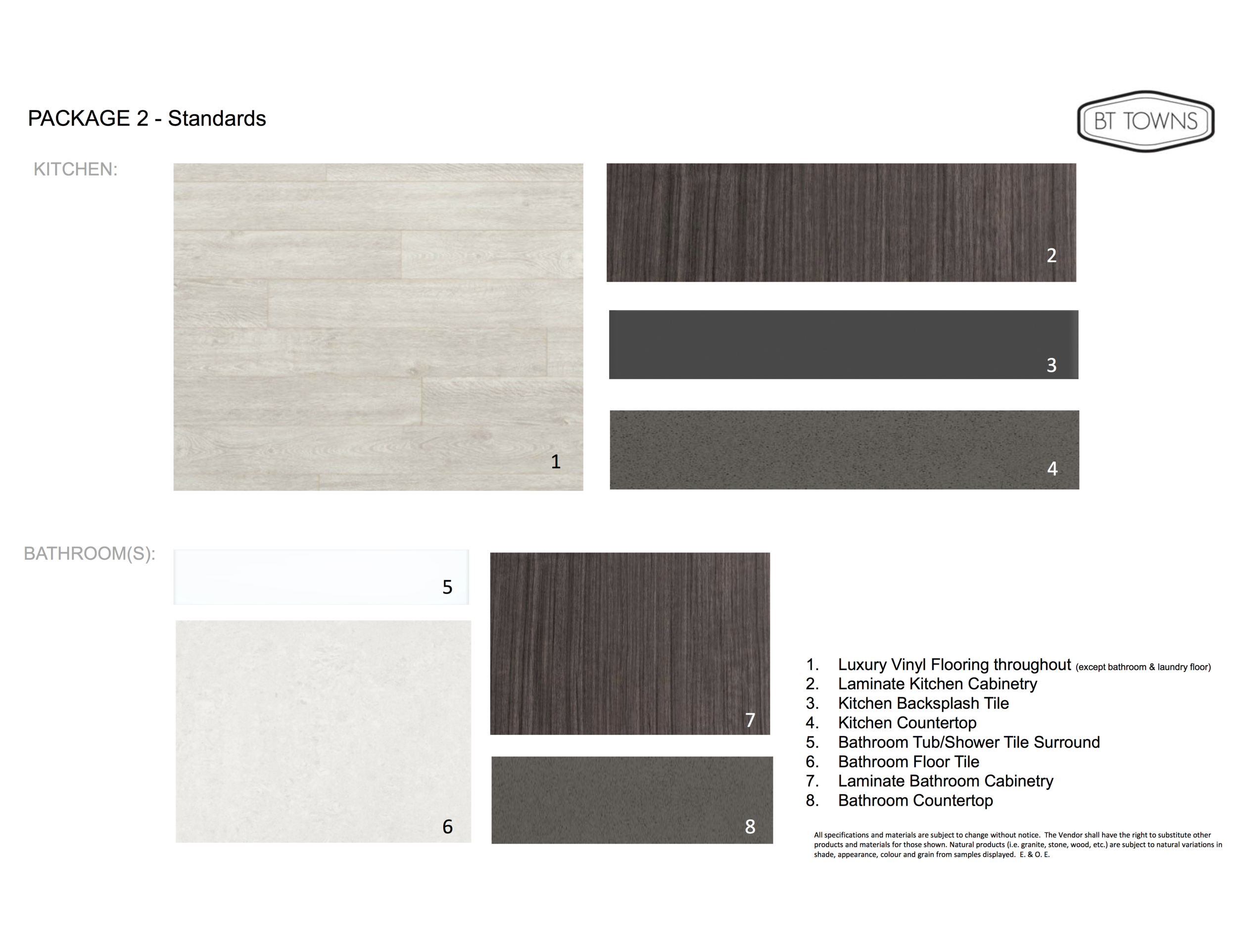Standard Finishes and Features - Package 2