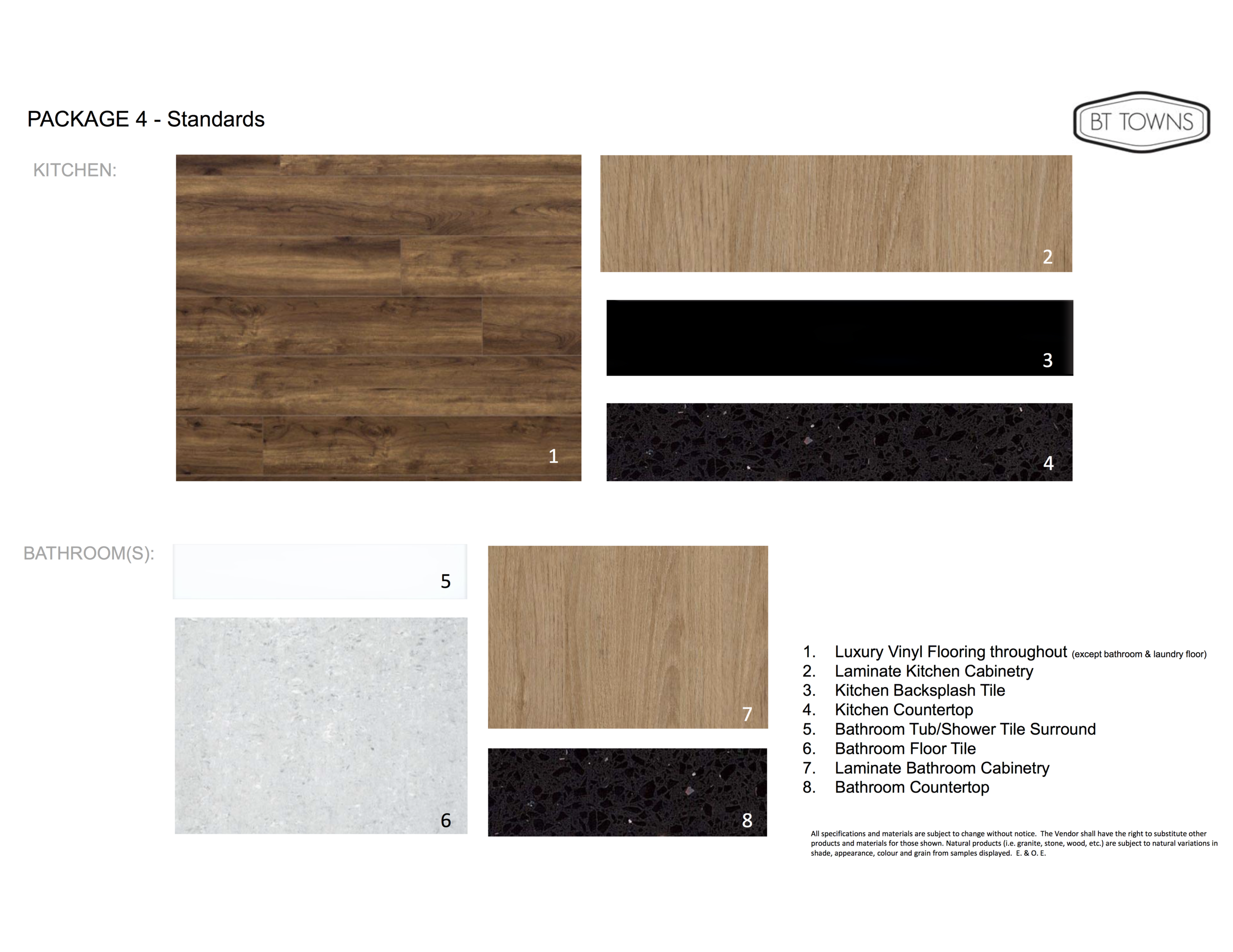 Standard Finishes and Features - Package 4