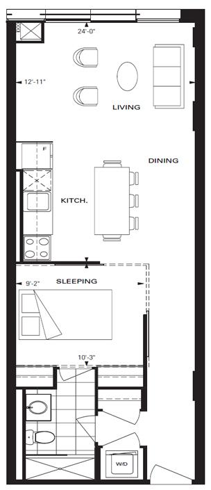 33 Mill Street #444: 645 sq ft