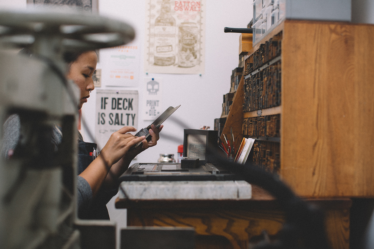 Meet the Maker - Cherish Prado badass letterpress wizardCherish, a letterpress printer by trade, is the boss lady behind this little letterpress print shop. She resided for a decade in the Pacific Northwest where she honed in on her craft. In Honolulu you can catch her enjoying a good cuppa, checking out the latest art exhibits and films, biking around town, or in her backyard tending to her plants and pups.